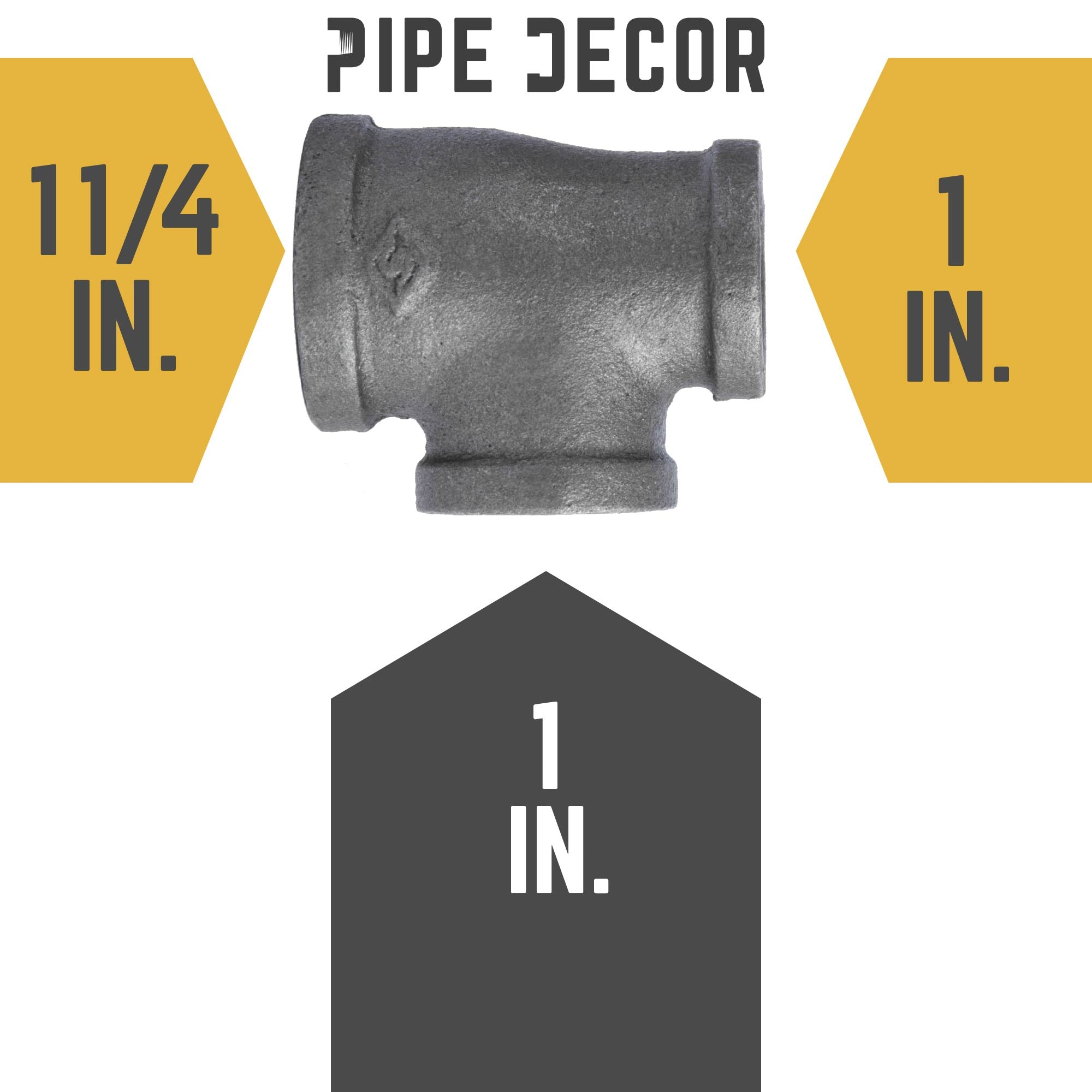 1 1/4 in. X 1 in. X 1 in. Black Reducing Tee - Pipe Decor