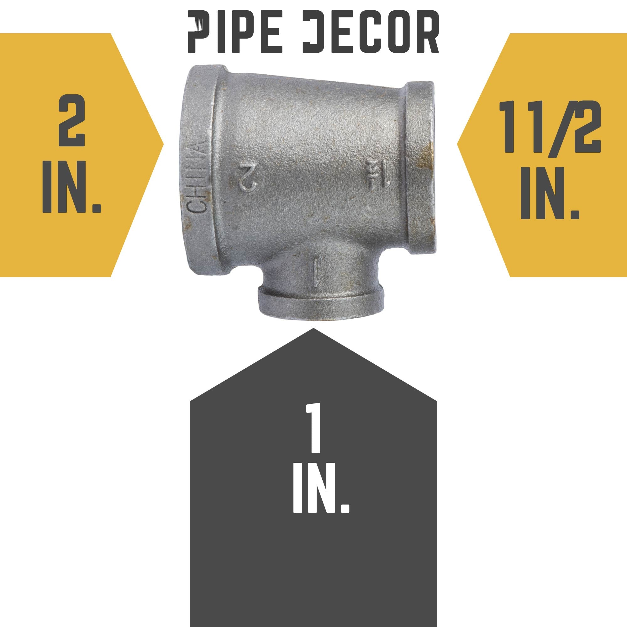 2 in. X 1 1/2 in. X 1 in.  Black Reducing Tee - Pipe Decor