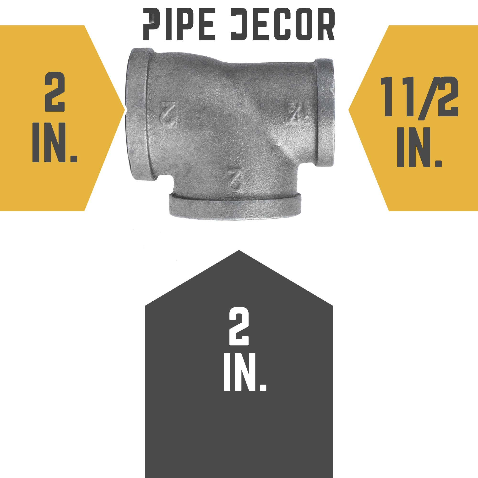 2 in. X 1 1/2 in.  X 2 in. Black Reducing Tee - Pipe Decor
