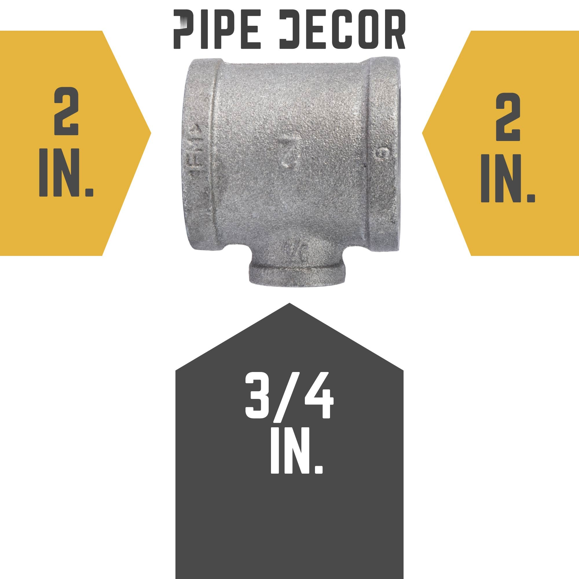 2 in. X 2 in. X 3/4 Black Reducing Tee - Pipe Decor