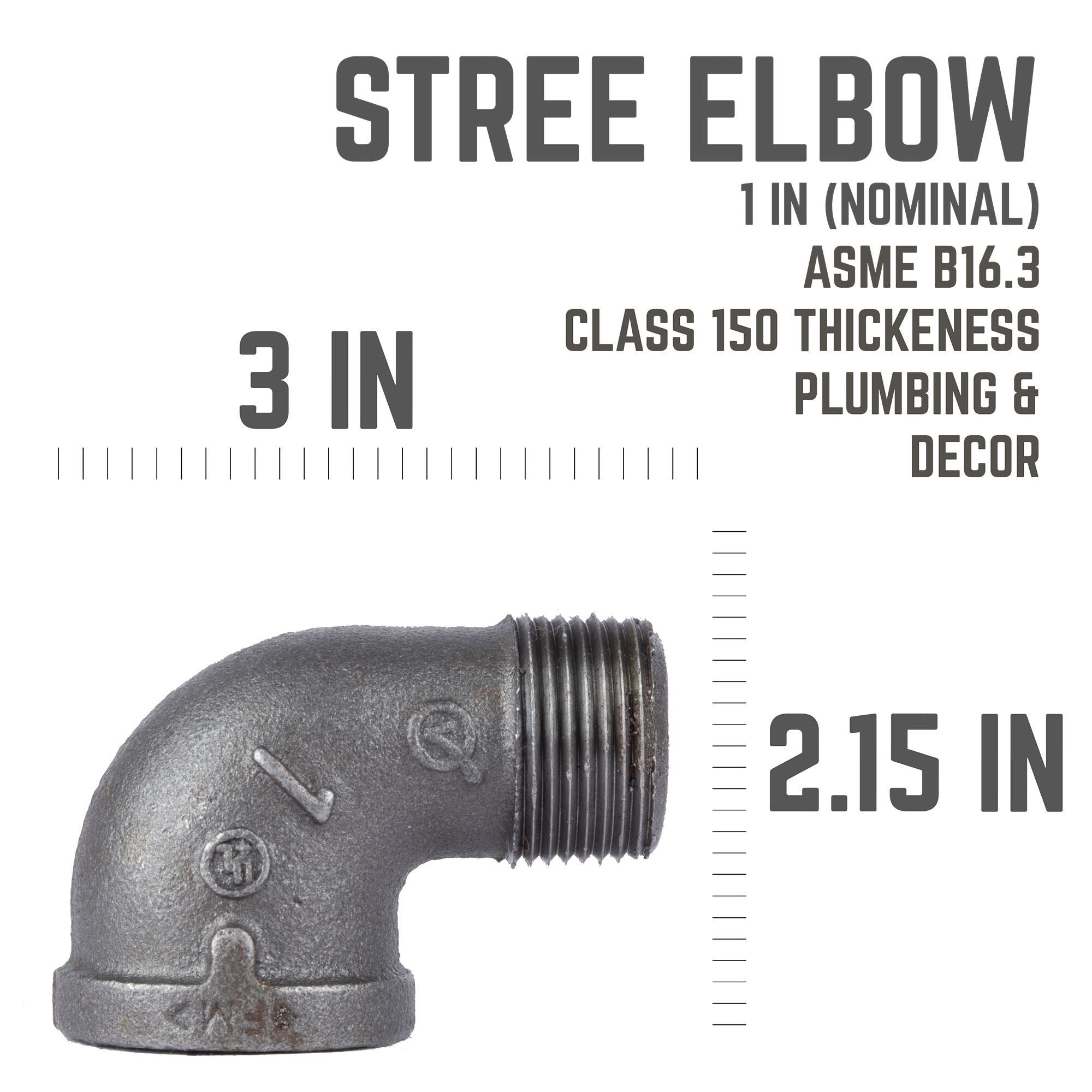 1 In 90 Degree Street Elbow - Pipe Decor
