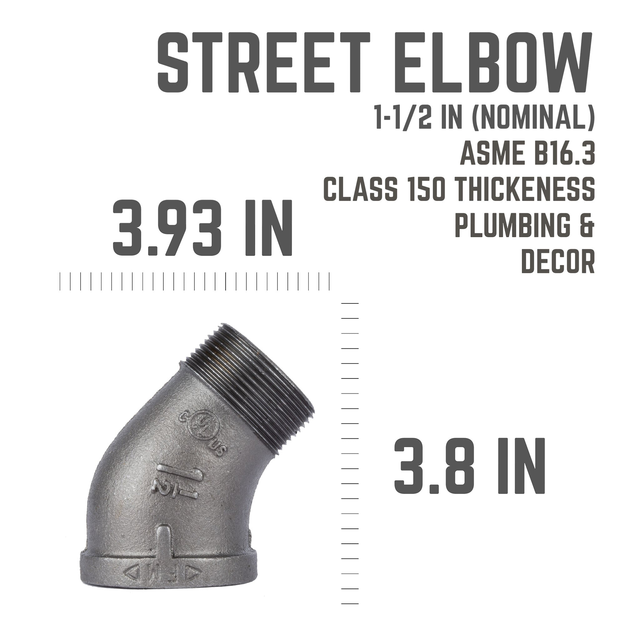 1 1/2 In. 45 Street Elbow - Pipe Decor