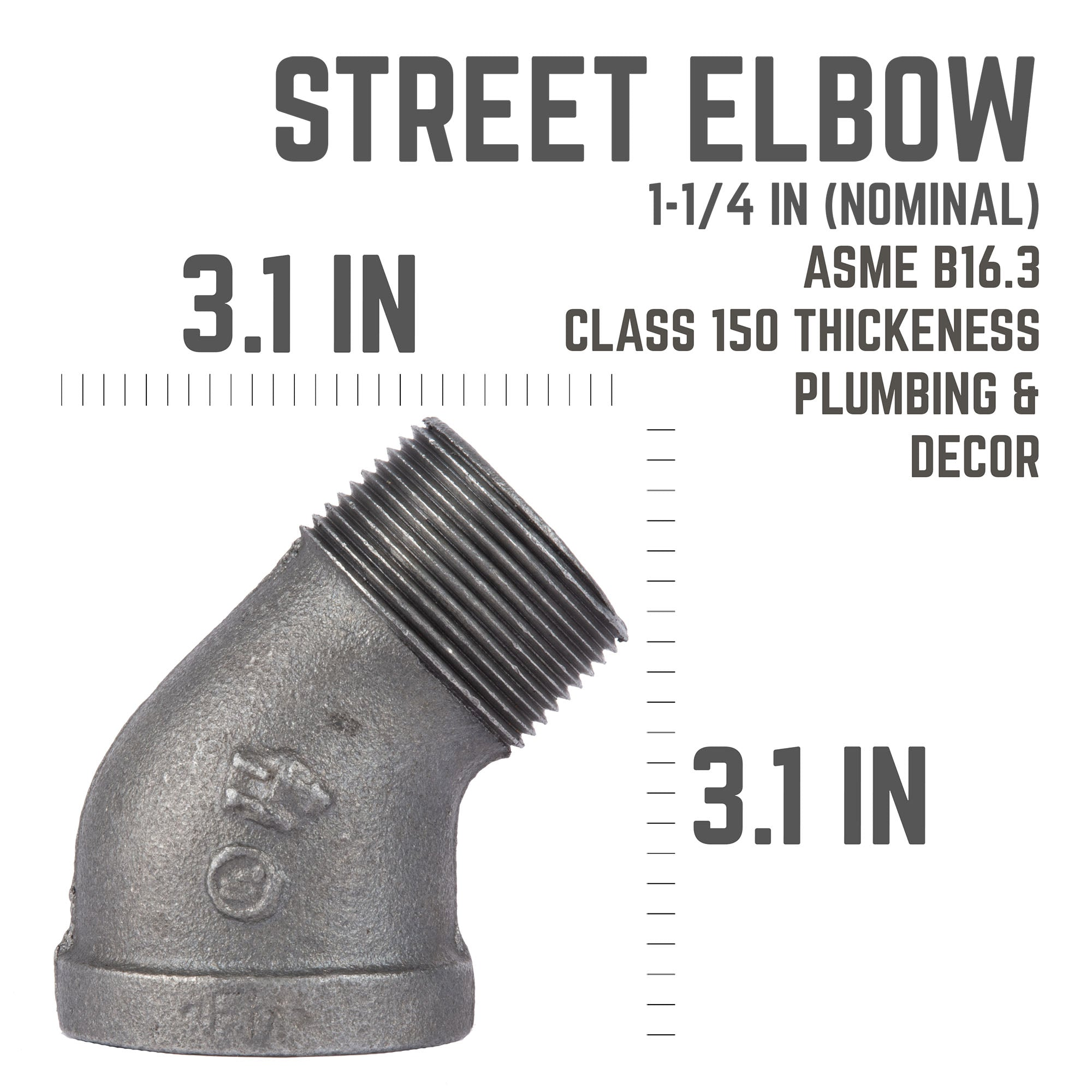 1 1/4  In 45 Degree Street Elbow - Pipe Decor