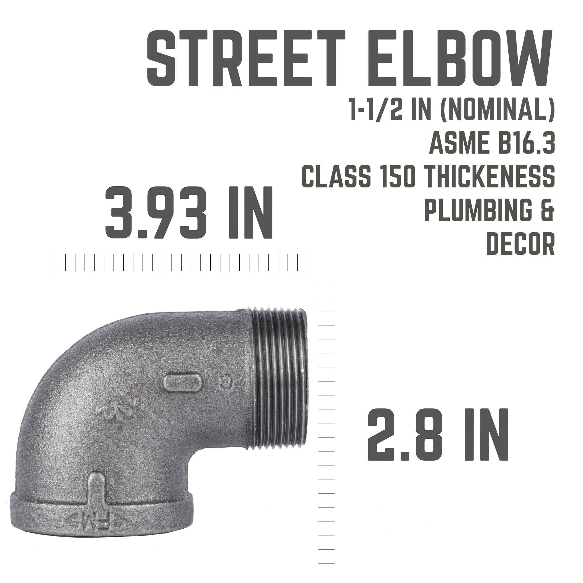 1 1/2 In 90 Degree Street Elbow - Pipe Decor