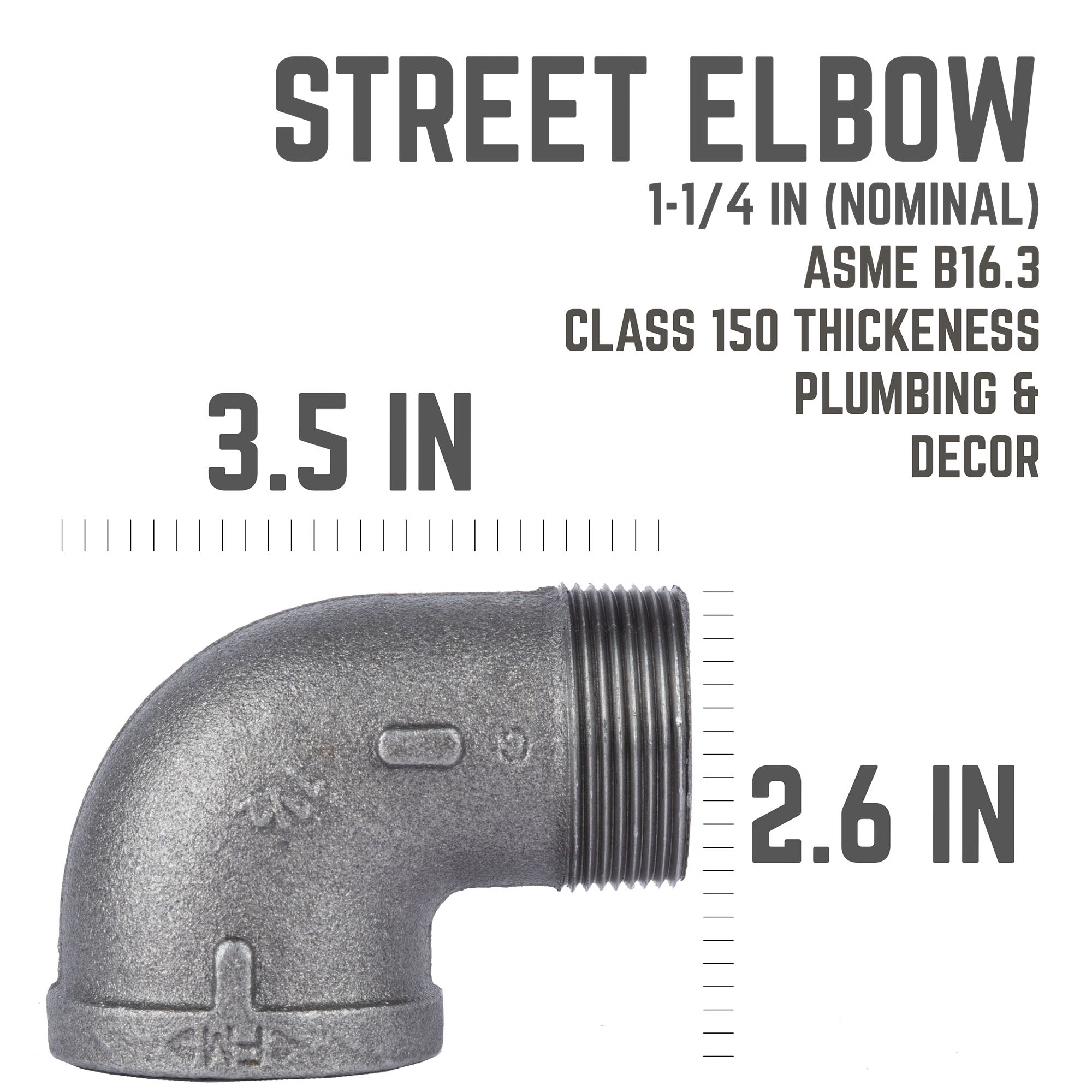 1 1/4 In 90 Degree Street Elbow - Pipe Decor