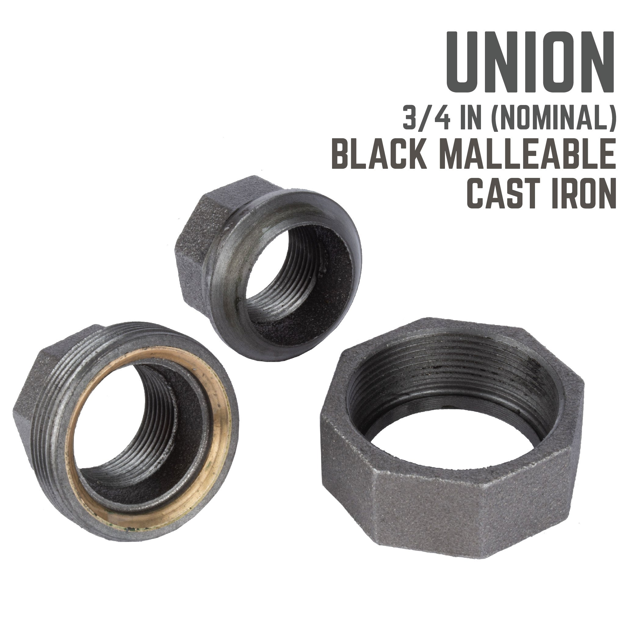 3/4 In Black Union - Pipe Decor
