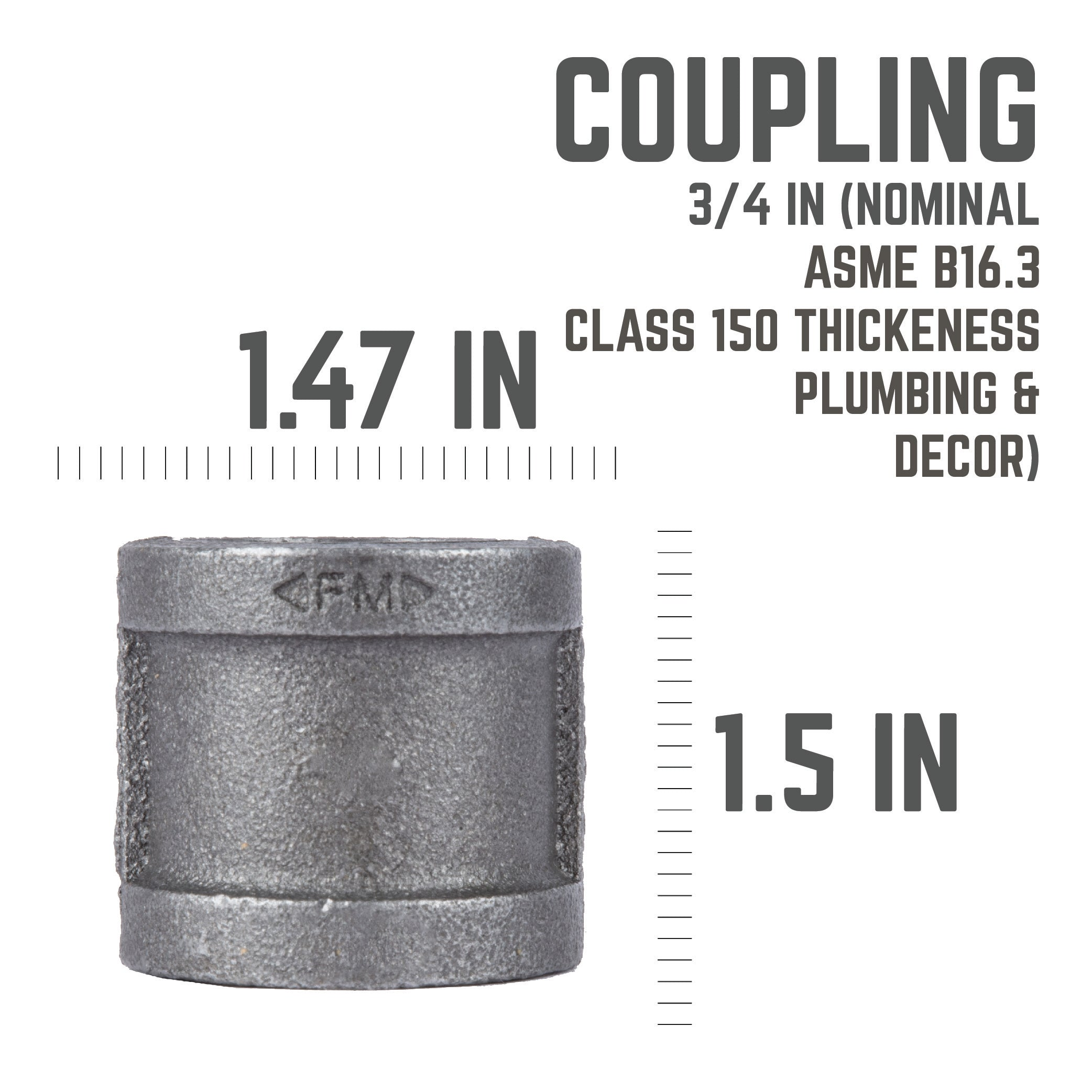 3/4 In Coupling - Pipe Decor