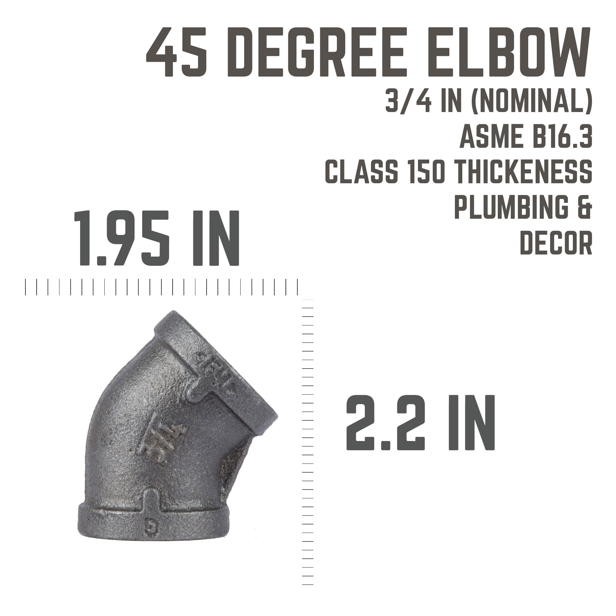 3/4 In Black 45 Elbow - Pipe Decor