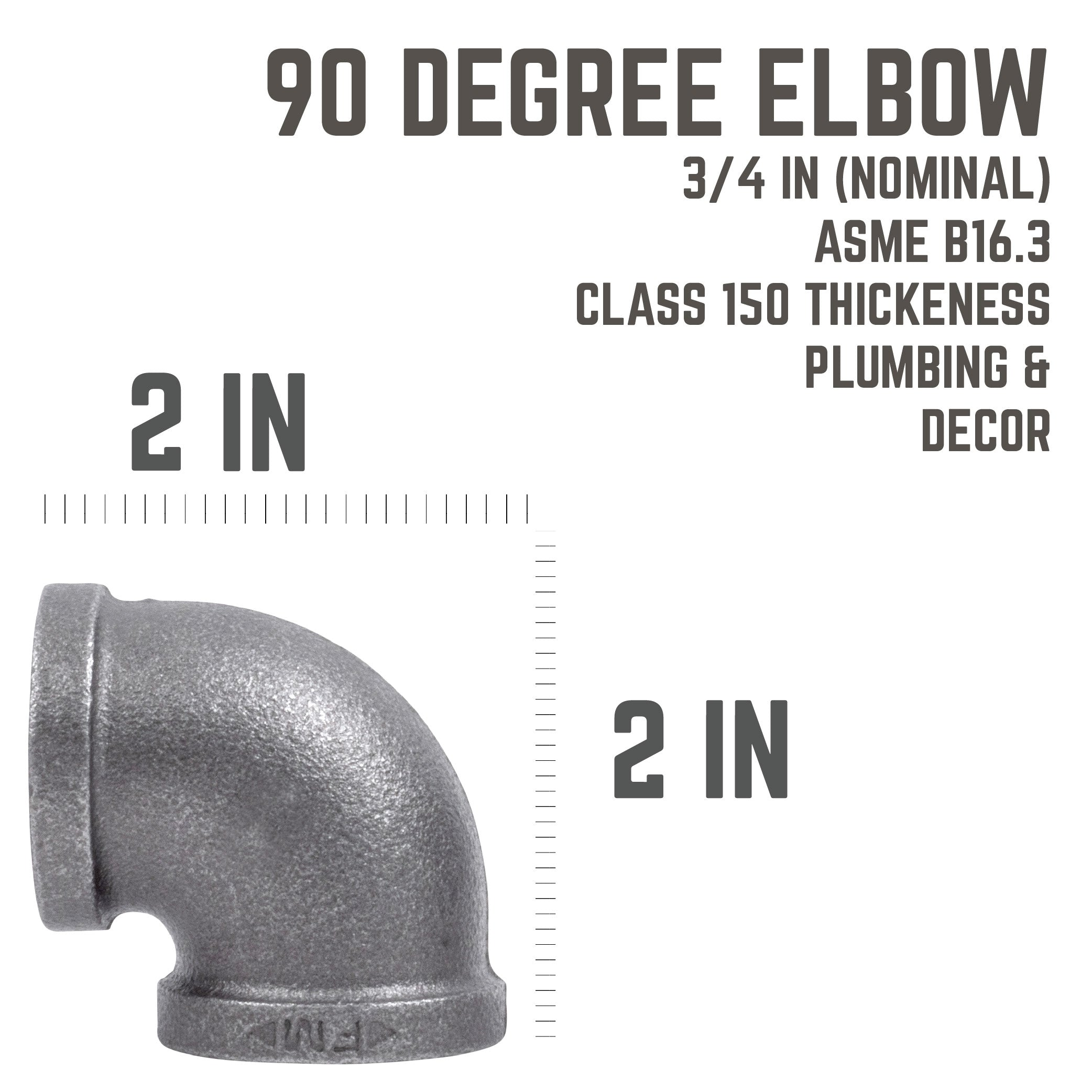 3/4 In Black 90 Degree  Elbow - Pipe Decor