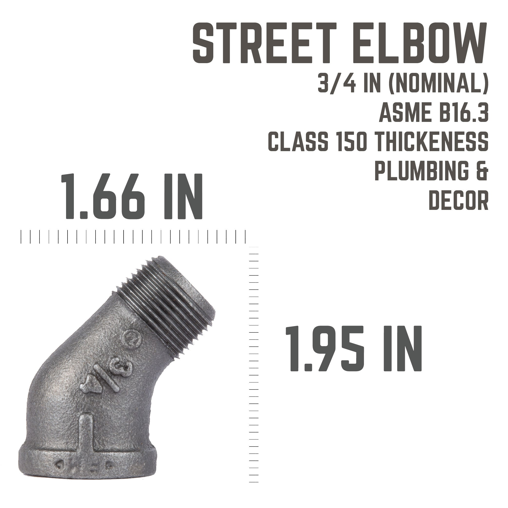 3/4 In 45 Street Elbow - Pipe Decor