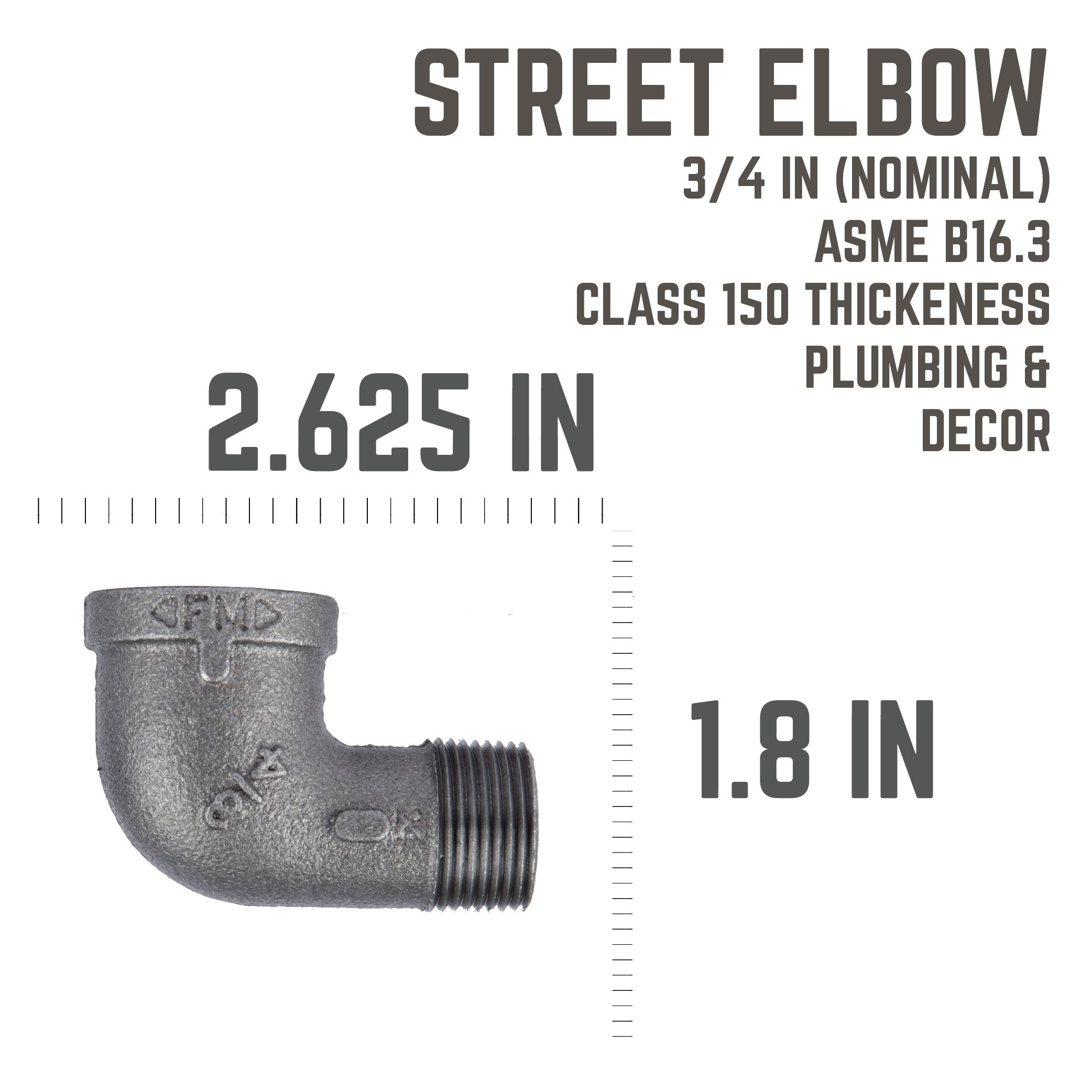 3/4 In 90 Degree  Street Elbow - Pipe Decor