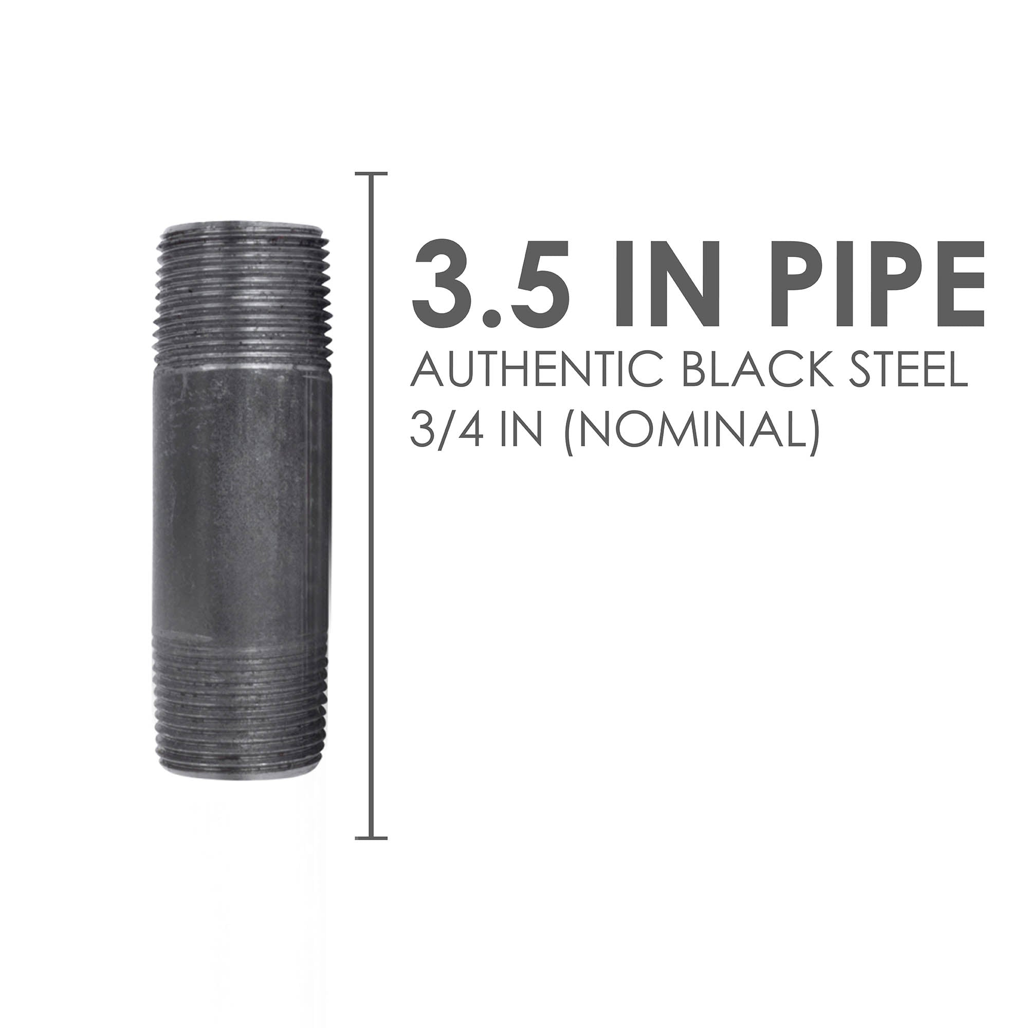 3/4 In X 3 1/2 In Black Pipe - Pipe Decor