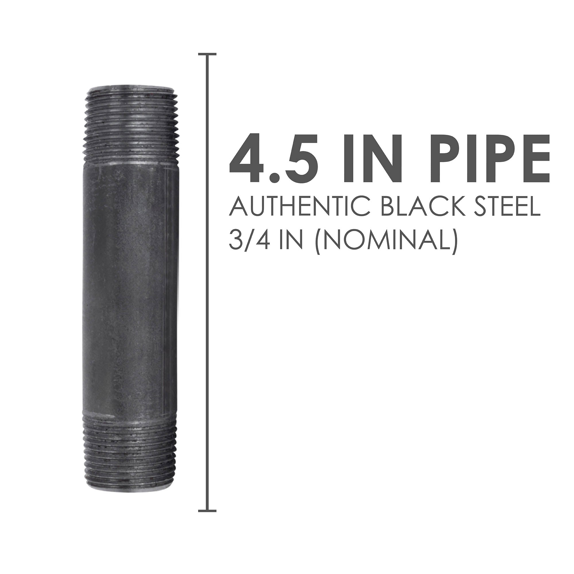 3/4 In X 4 1/2 In Black Pipe - Pipe Decor