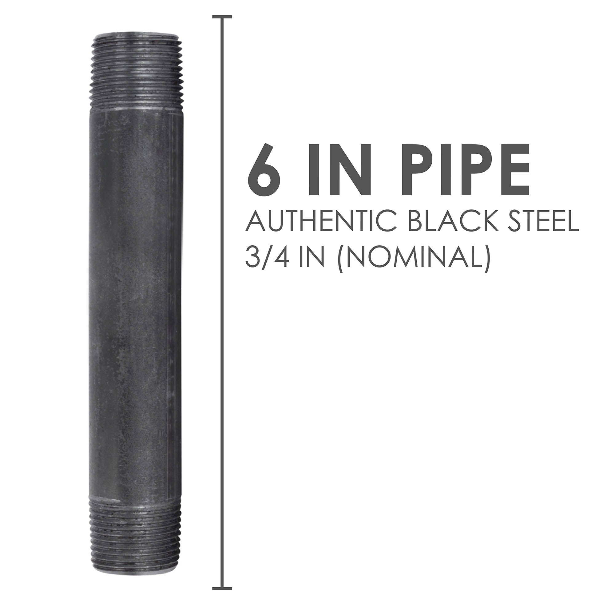 3/4 In X 6 In Black Pipe - Pipe Decor
