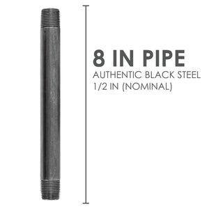 1/2  in. X 8 in. Black Pipe 6 Pack - Pipe Decor