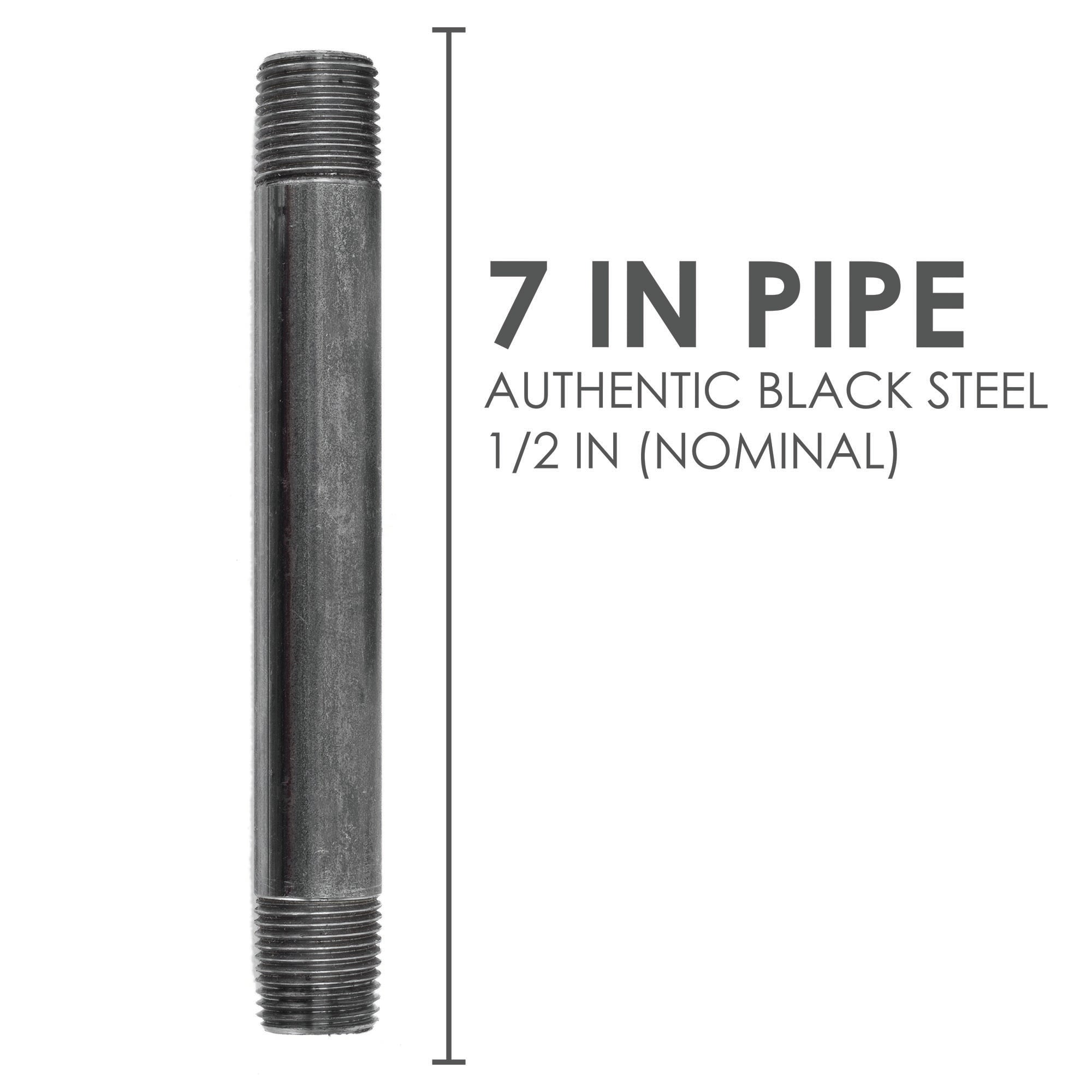 1/2  In X 7 In Black Pipe - Pipe Decor