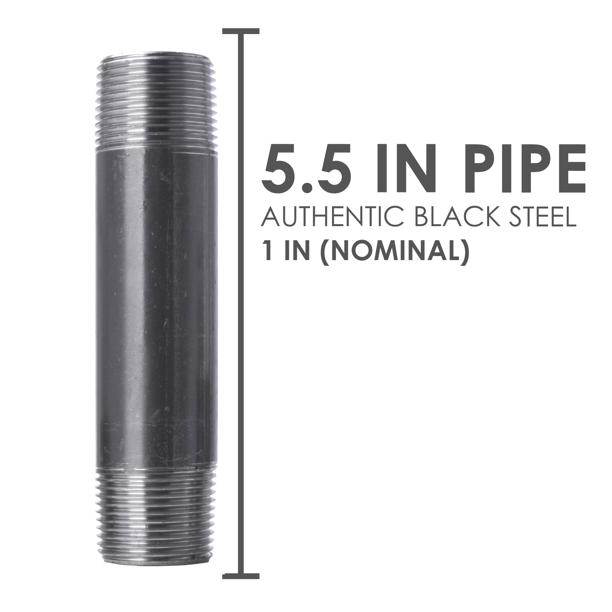 1 in. X 5 1/2 in. Black Pipe 6 Pack - Pipe Decor