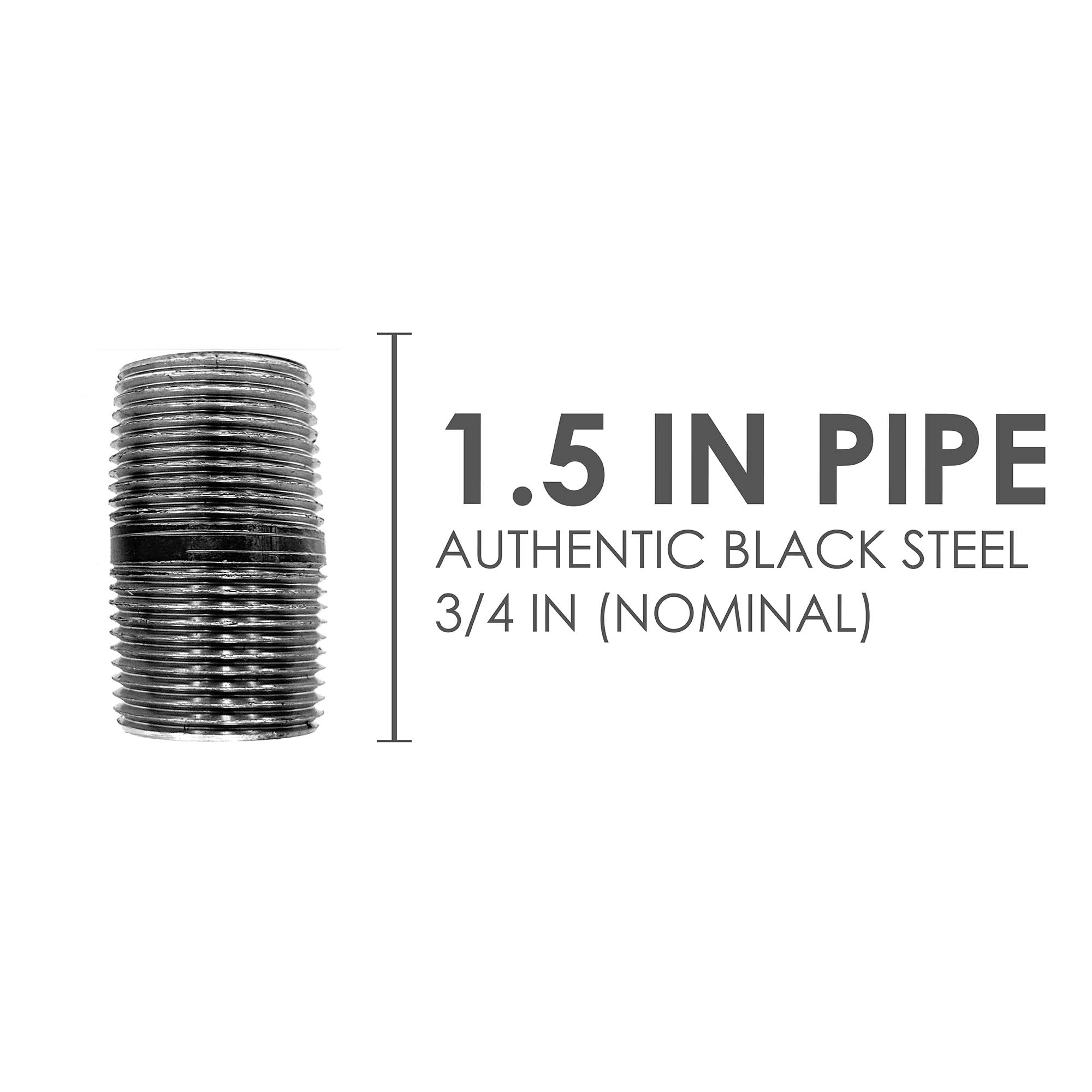 3/4 In X 1 1/2 In Black Pipe - Pipe Decor