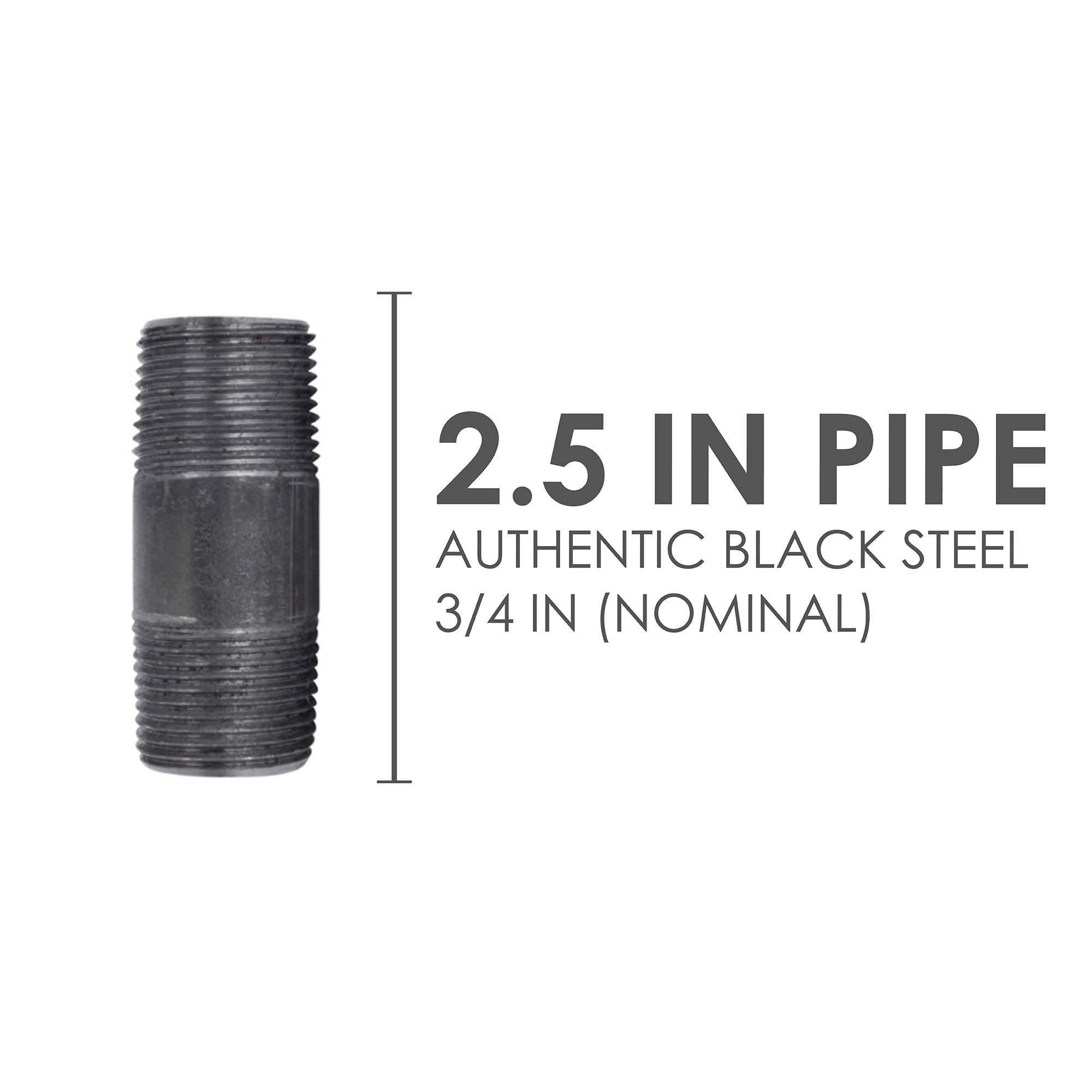 3/4 In X 2 1/2 In Black Pipe - Pipe Decor