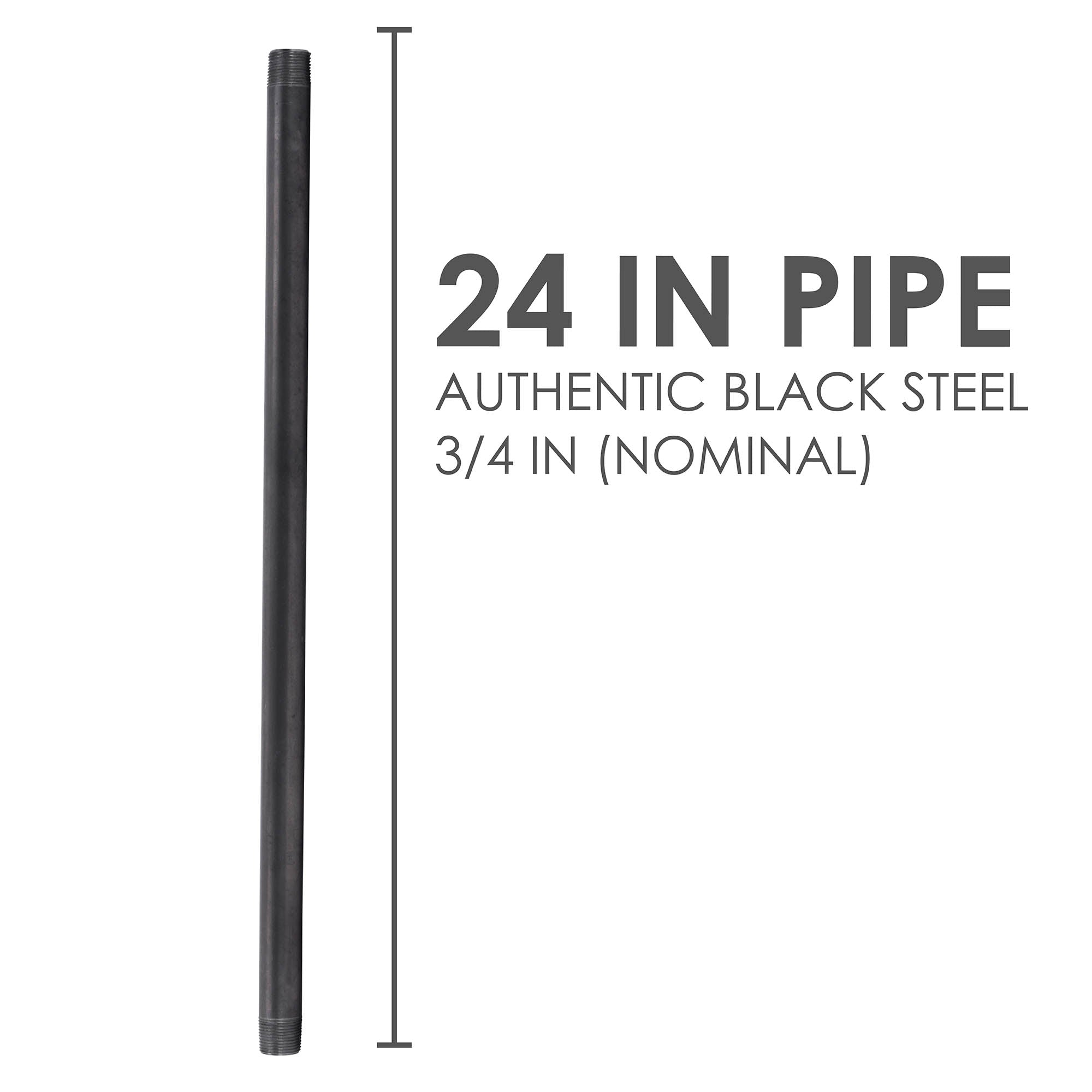 3/4 In X 24 In Black Pipe - Pipe Decor