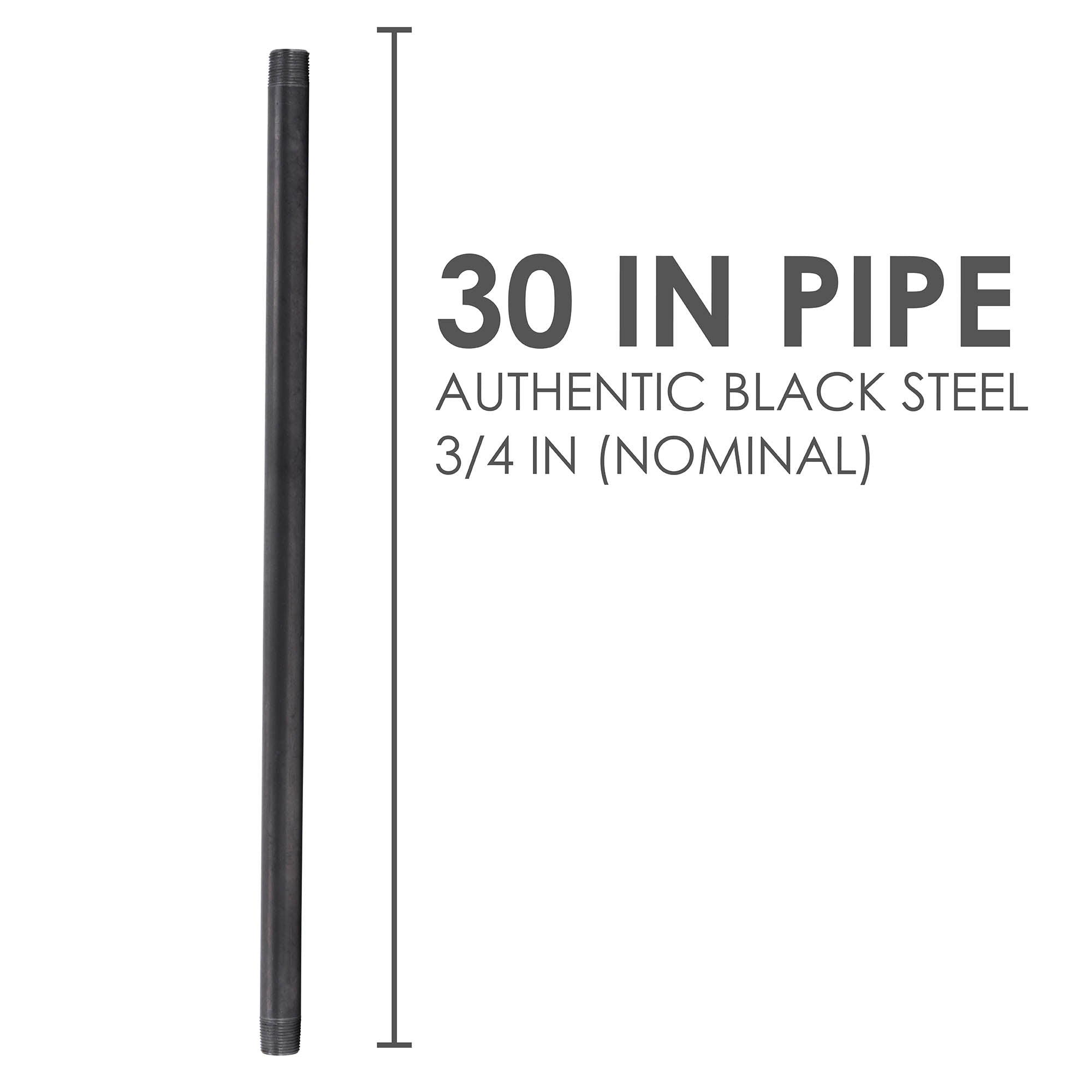 3/4 In X 30 In Black Pipe - Pipe Decor