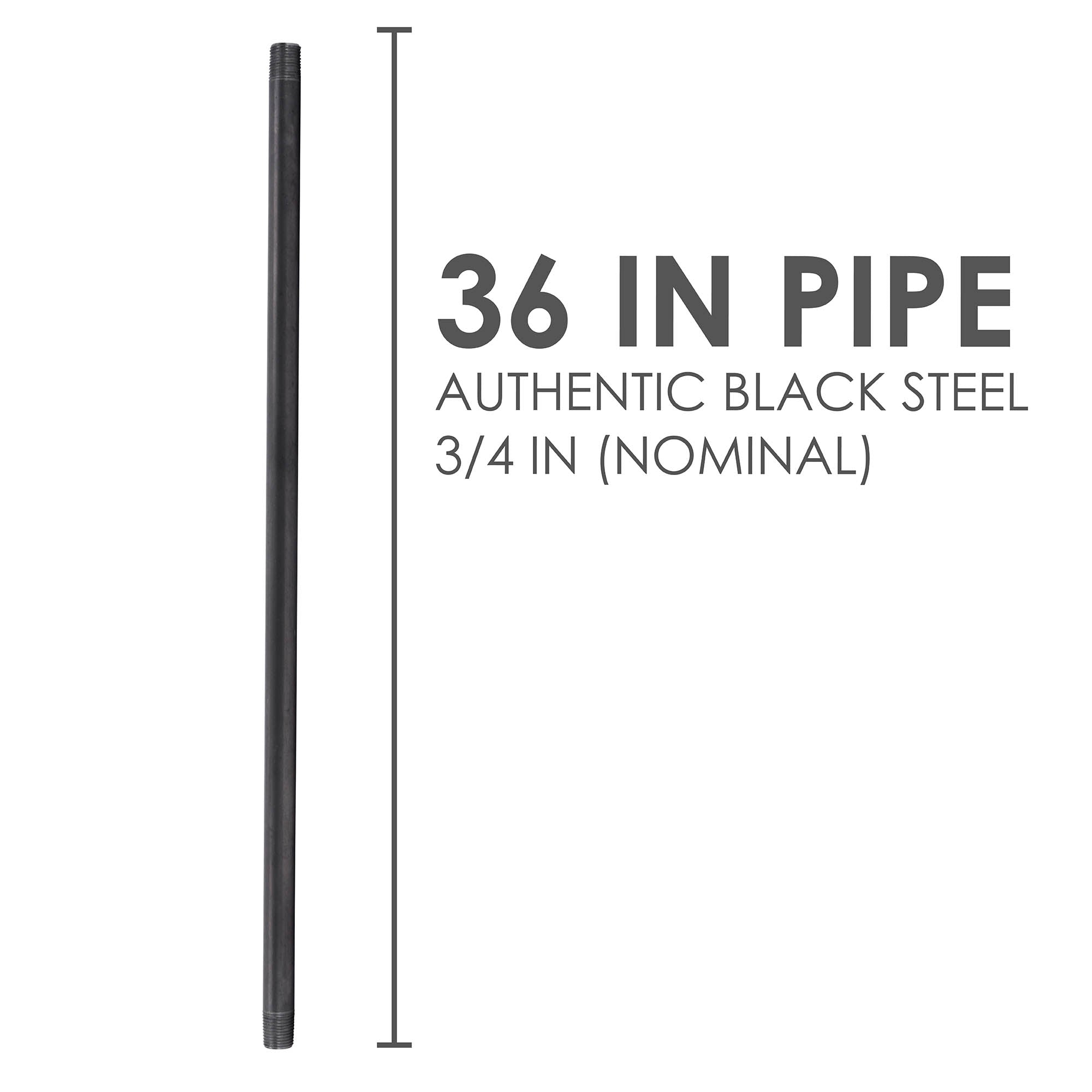 3/4 In X 36 In Black Pipe - Pipe Decor