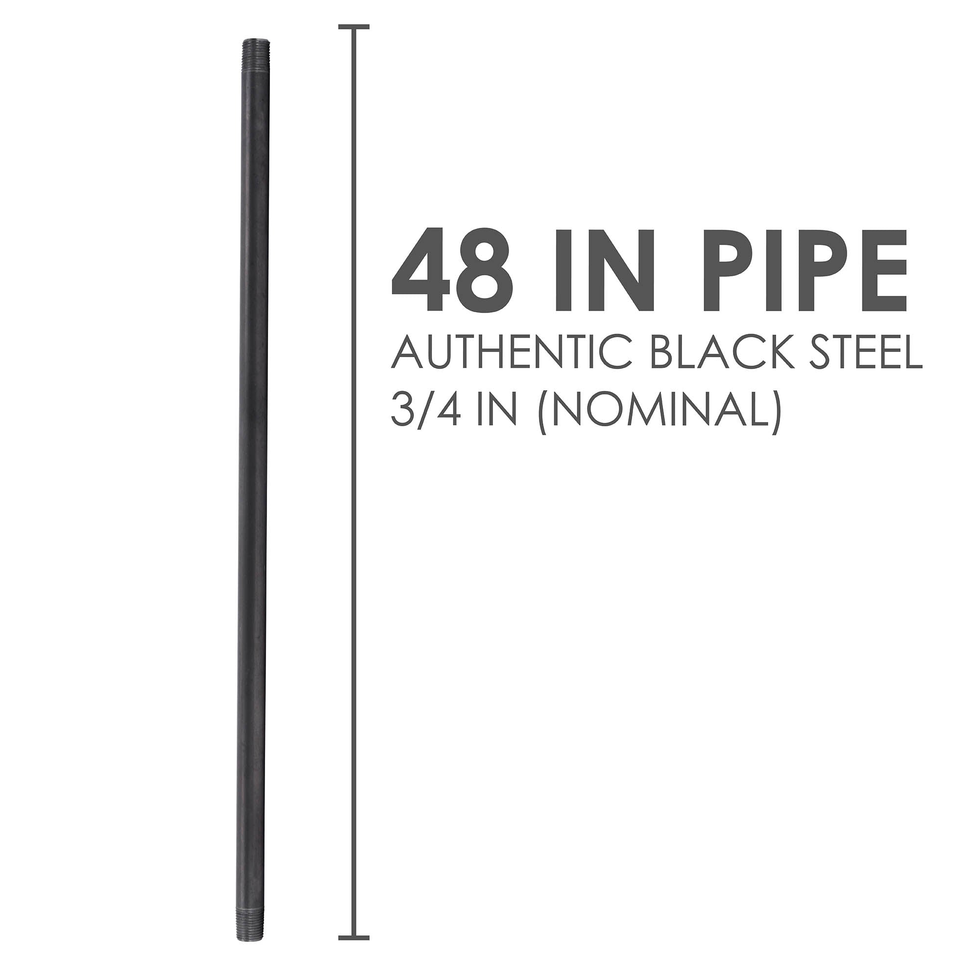 3/4 In X 48 In Black Pipe - Pipe Decor