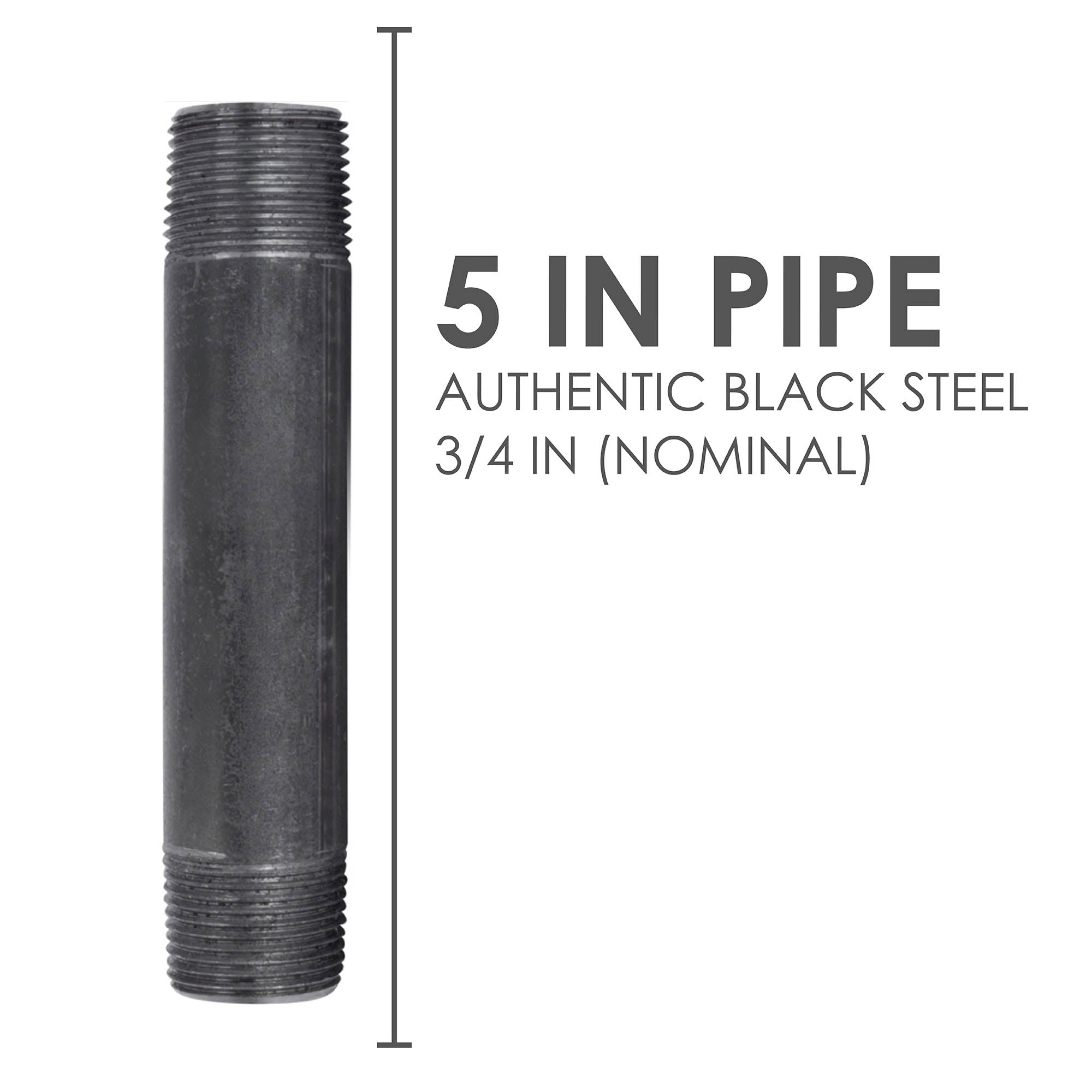 3/4 In X 5 In Black Pipe - Pipe Decor