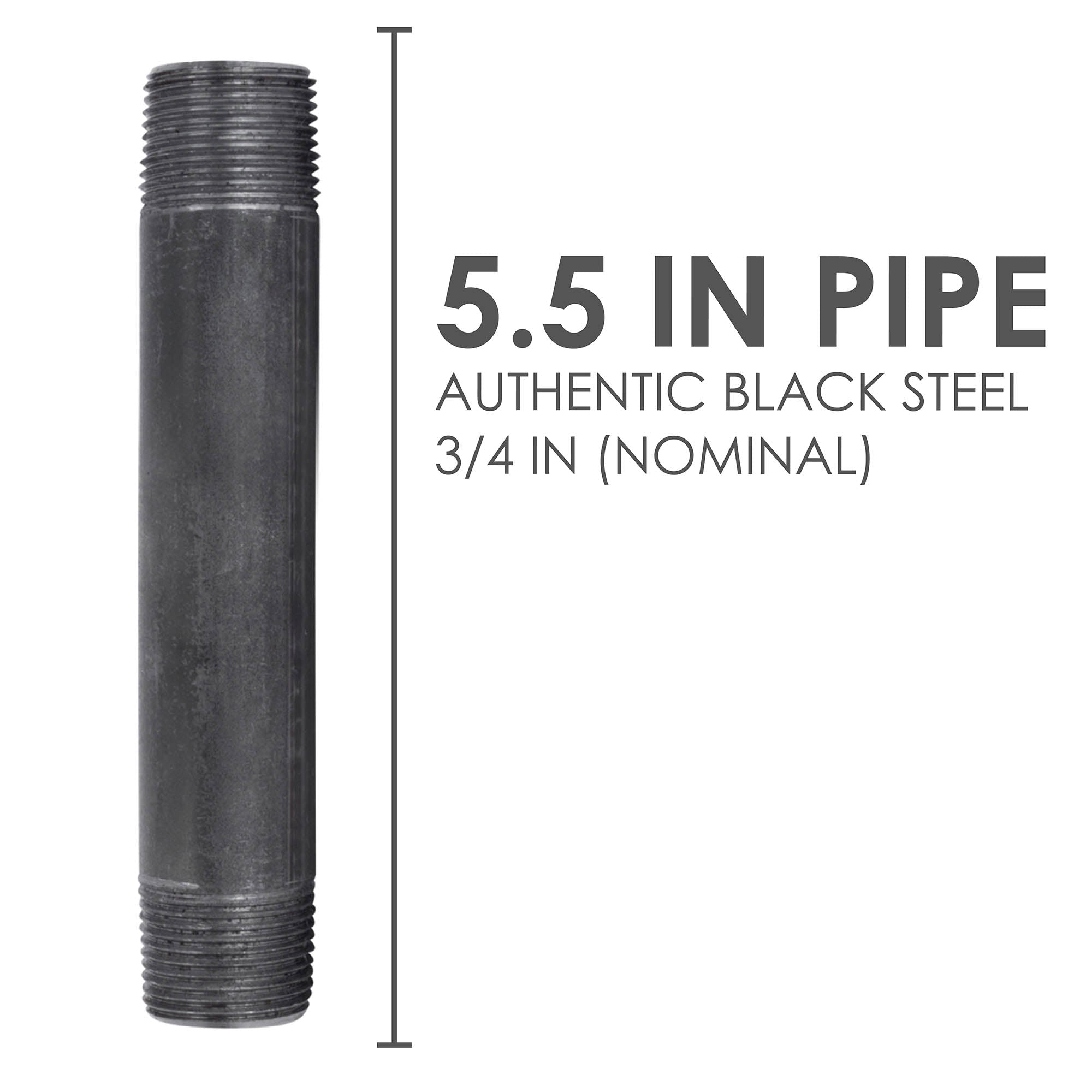 3/4 In X 5 1/2 In Black Pipe - Pipe Decor