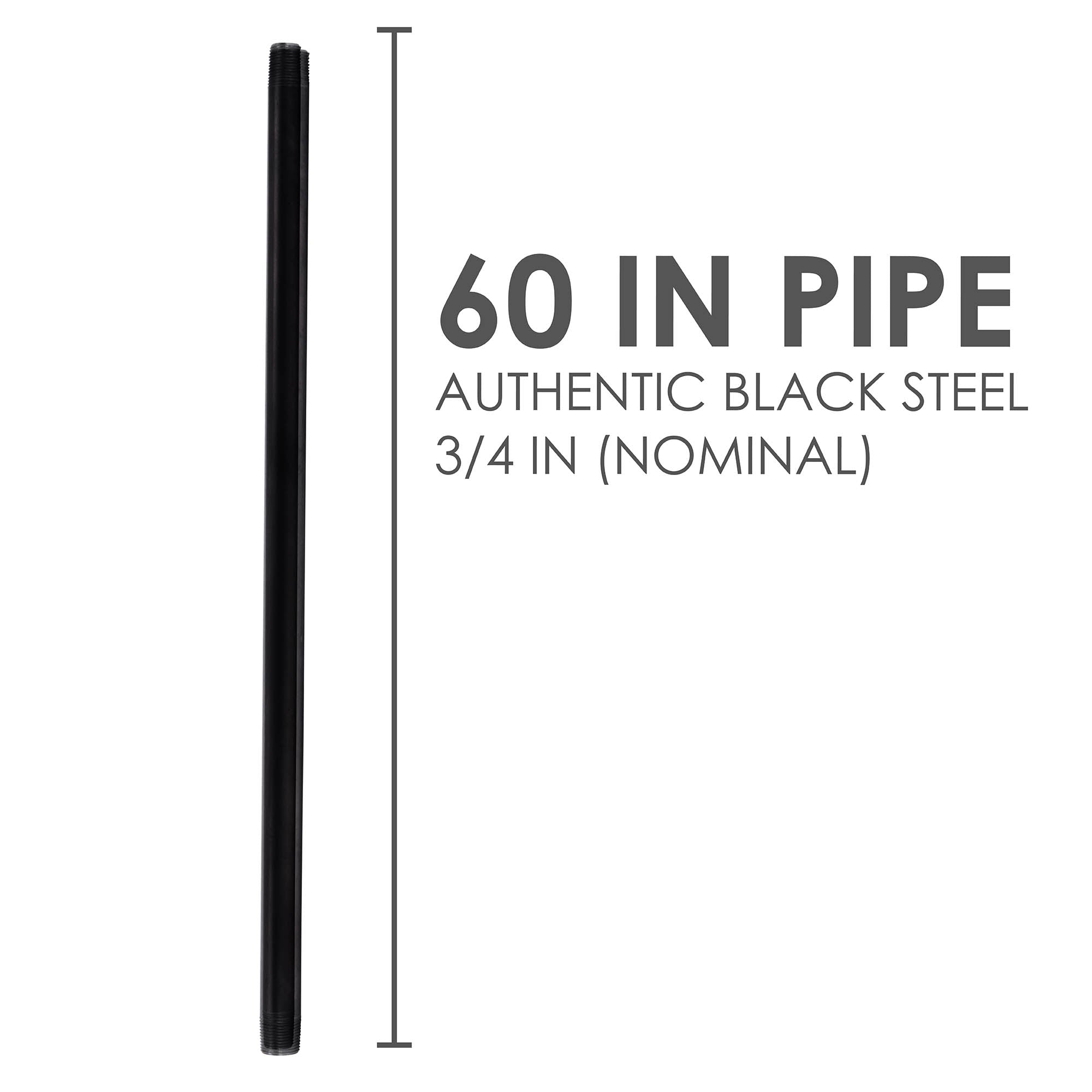 3/4 In X 60 In Black Pipe - Pipe Decor