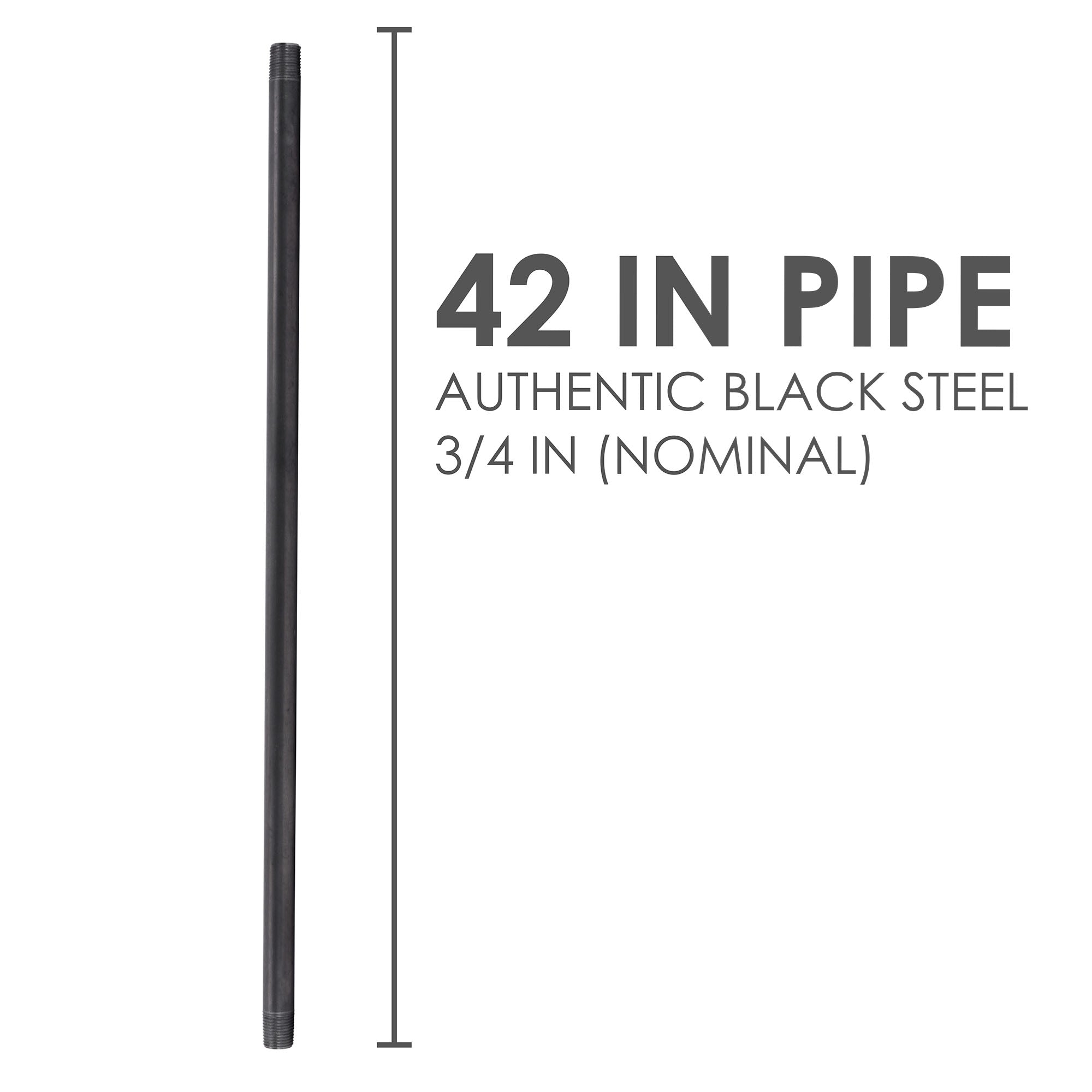 3/4 In X 42 In Black Pipe - Pipe Decor