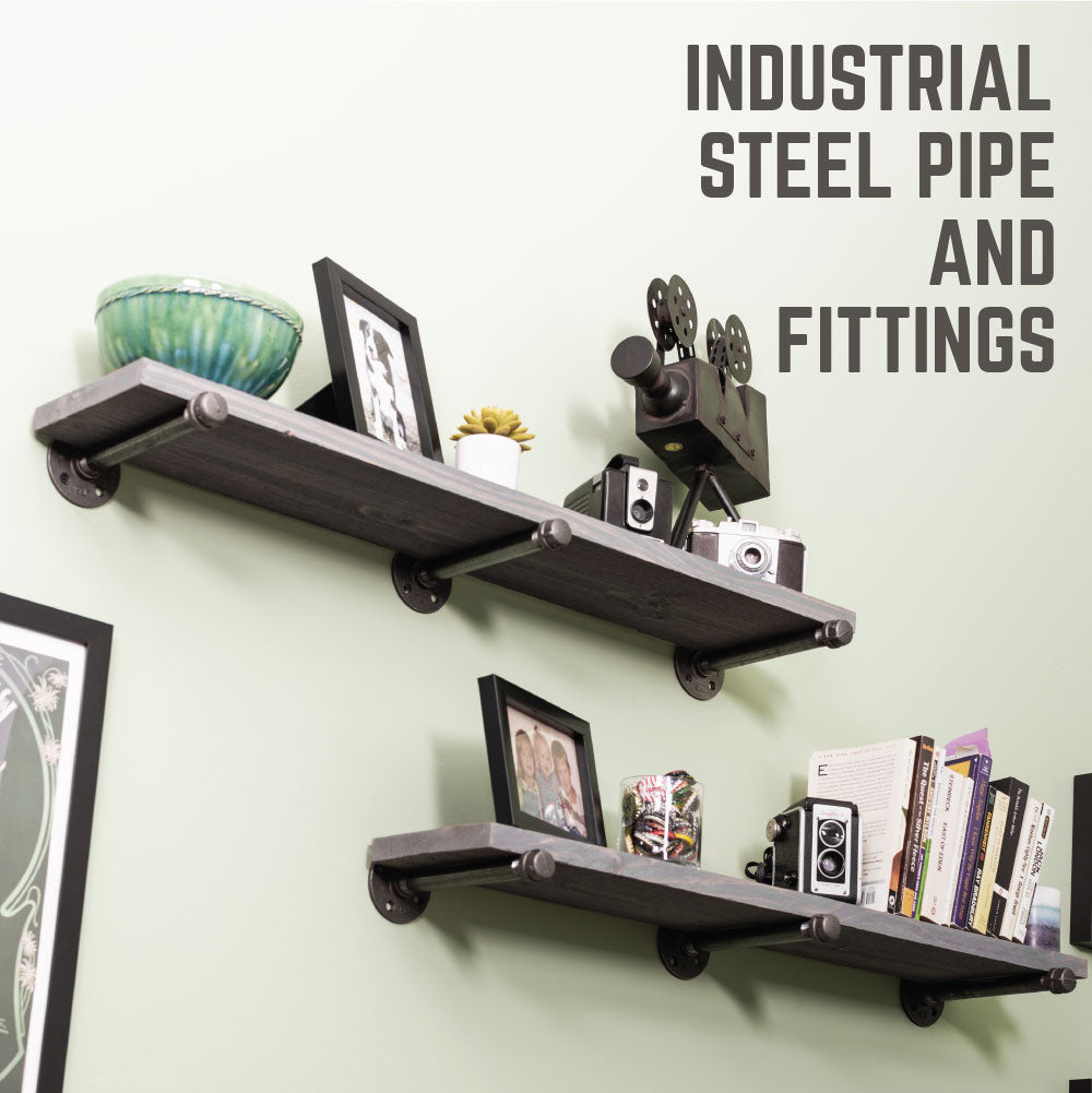 1/2 In X 10 In  Shelf Bracket Kit, 6 Pack - Pipe Decor