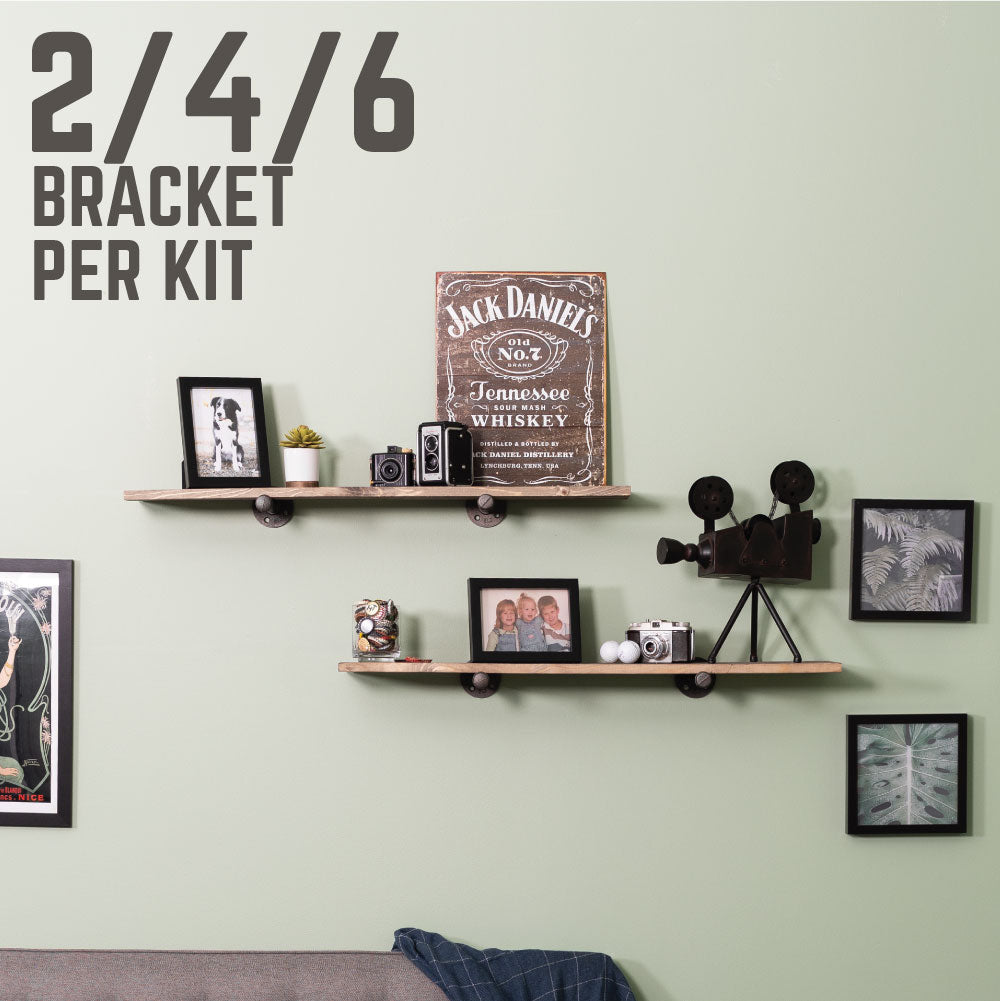 1/2 In X 10 In  Shelf Bracket Kit, 4 Pack - Pipe Decor
