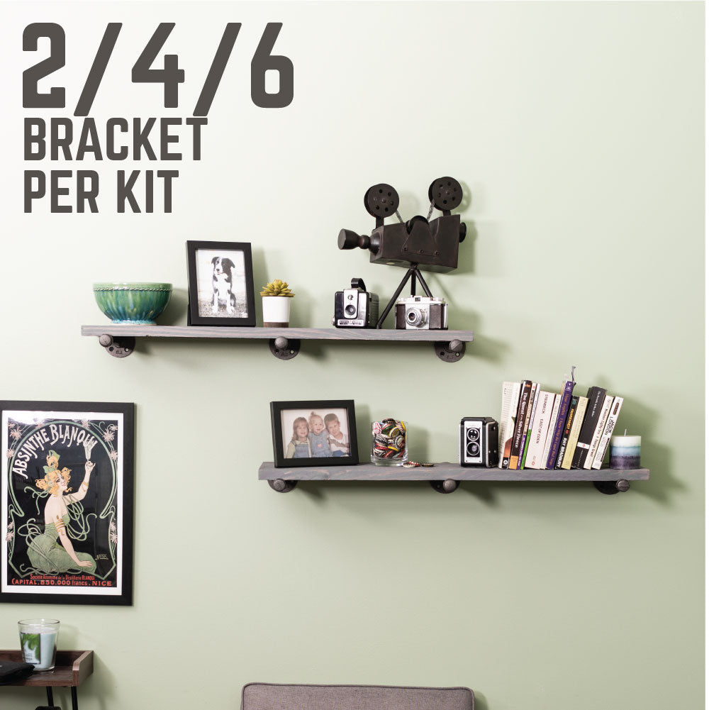 1/2 In X 12 In L Shelf Bracket Kit, 6 Pack - Pipe Decor