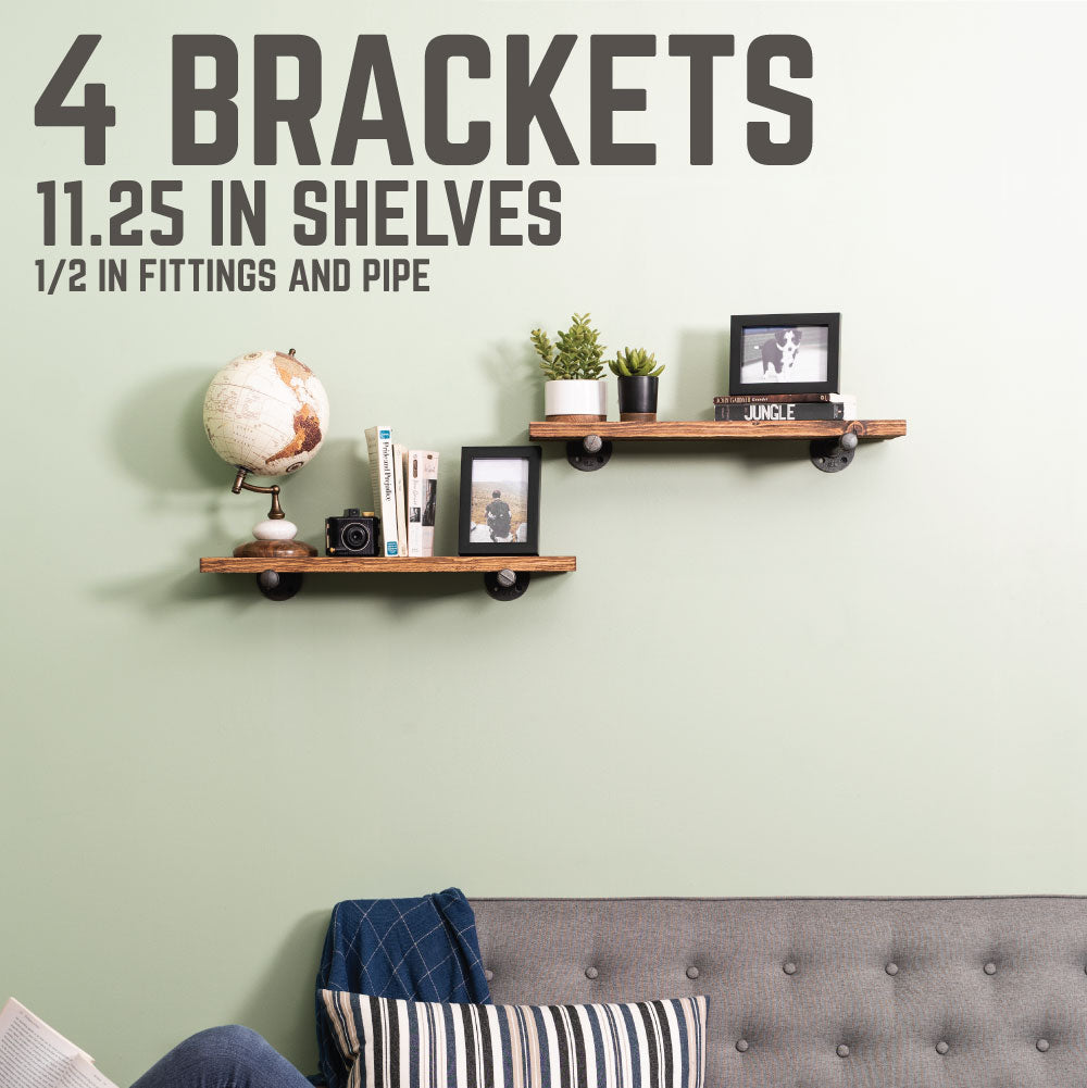 1/2 In  X 12 In Shelf Bracket Kit, 4 Pack - Pipe Decor