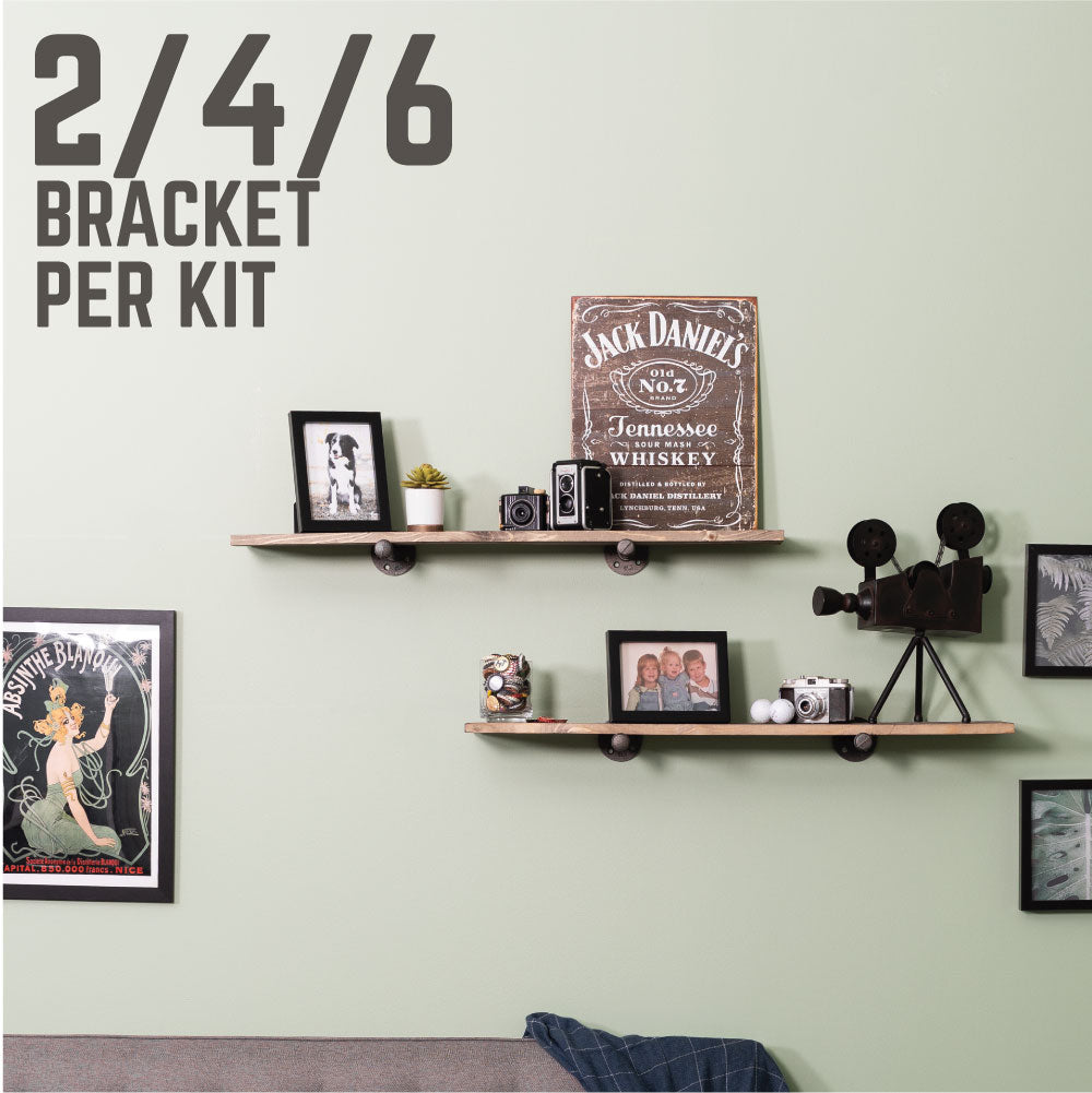 1/2 In  X 12 In L Shelf Bracket Kit, 2 Pack - Pipe Decor