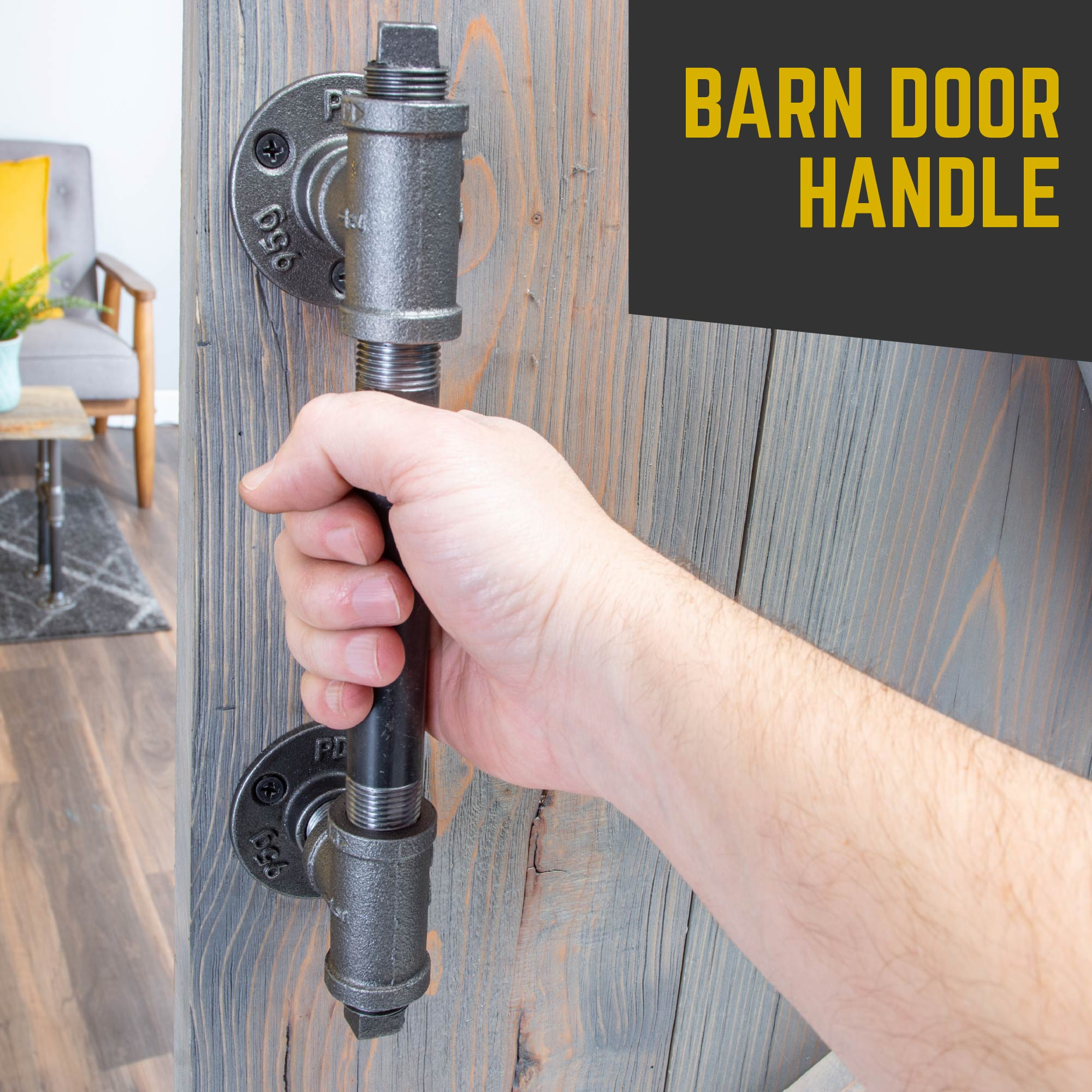 1/2 in. Tee Barn Door Handle- Mini Flange – 10.75 In. L - Pipe Decor