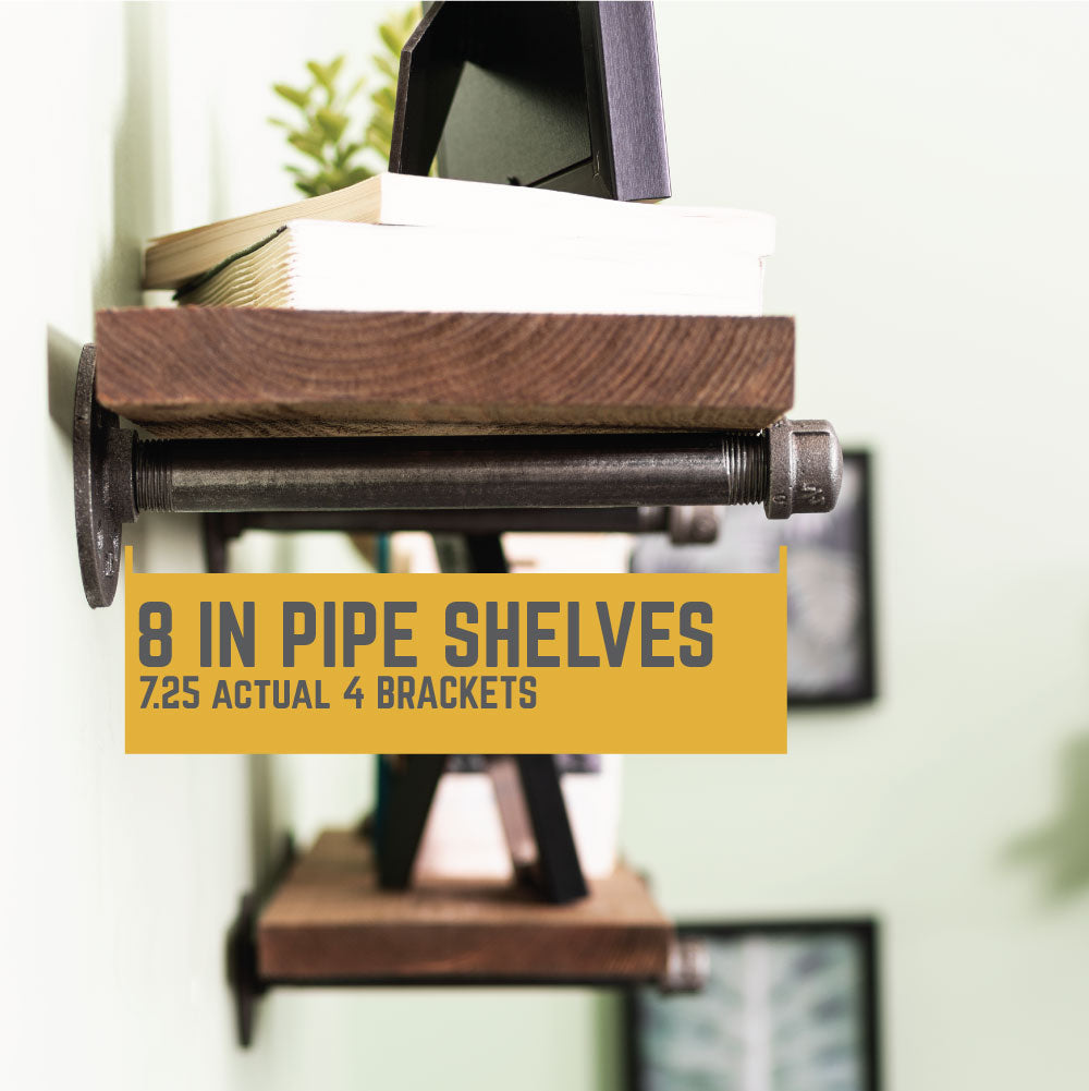 1/2 In  X 8 In Shelf Bracket Kit, 4 Pack - Pipe Decor