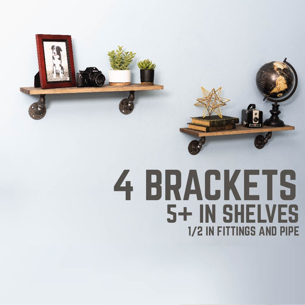 1/2 In X 3 In Double Flange Angled Bracket Kit, 4 Pack