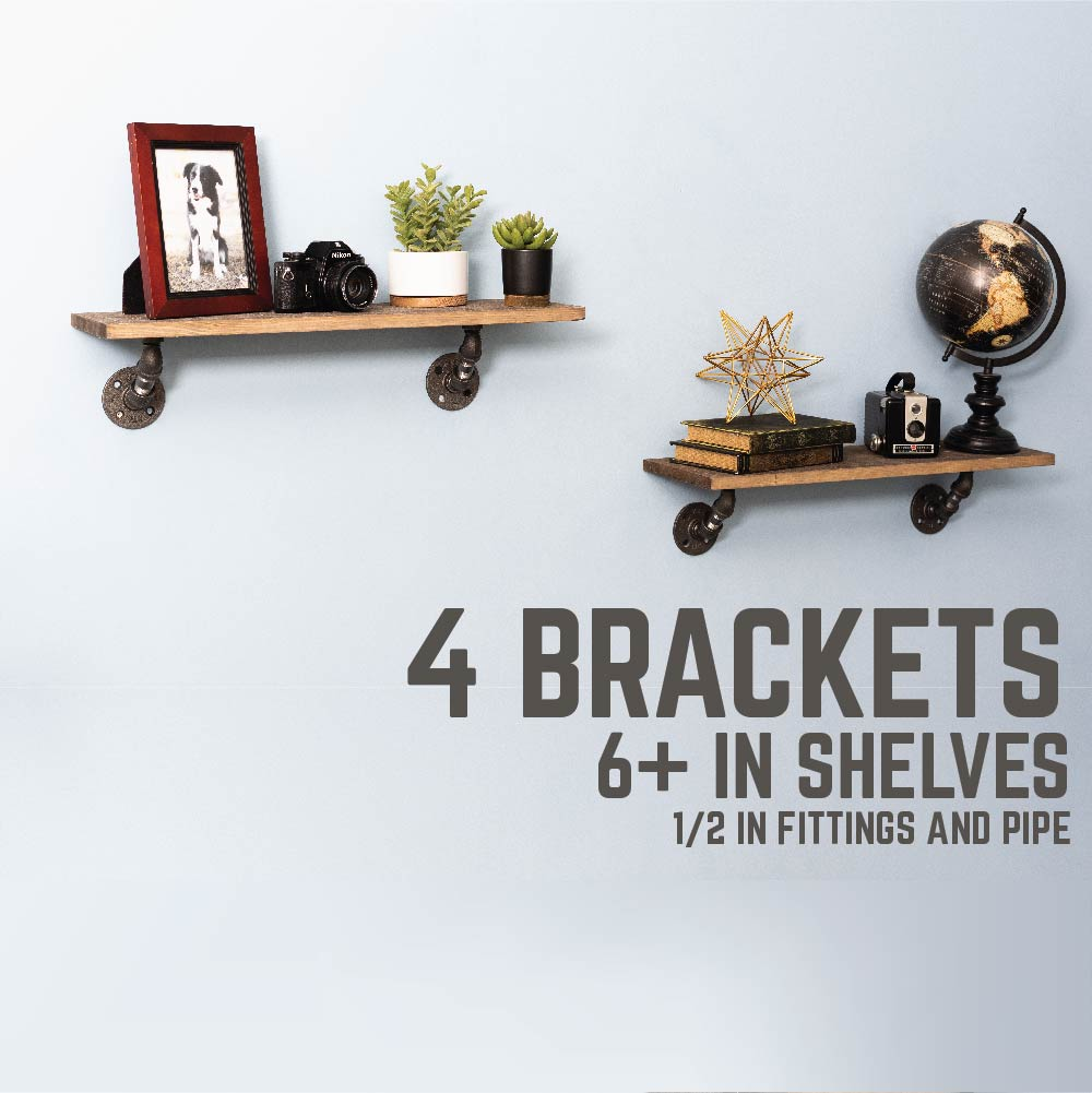 1/2 In X 4 In Double Flange Angled  Bracket Kit, 4 Pack