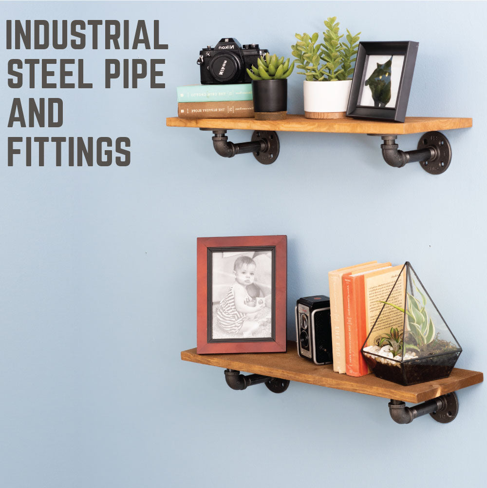 1/2 In X 4 In Double Flange Shelf Bracket, 4 Pack - Pipe Decor