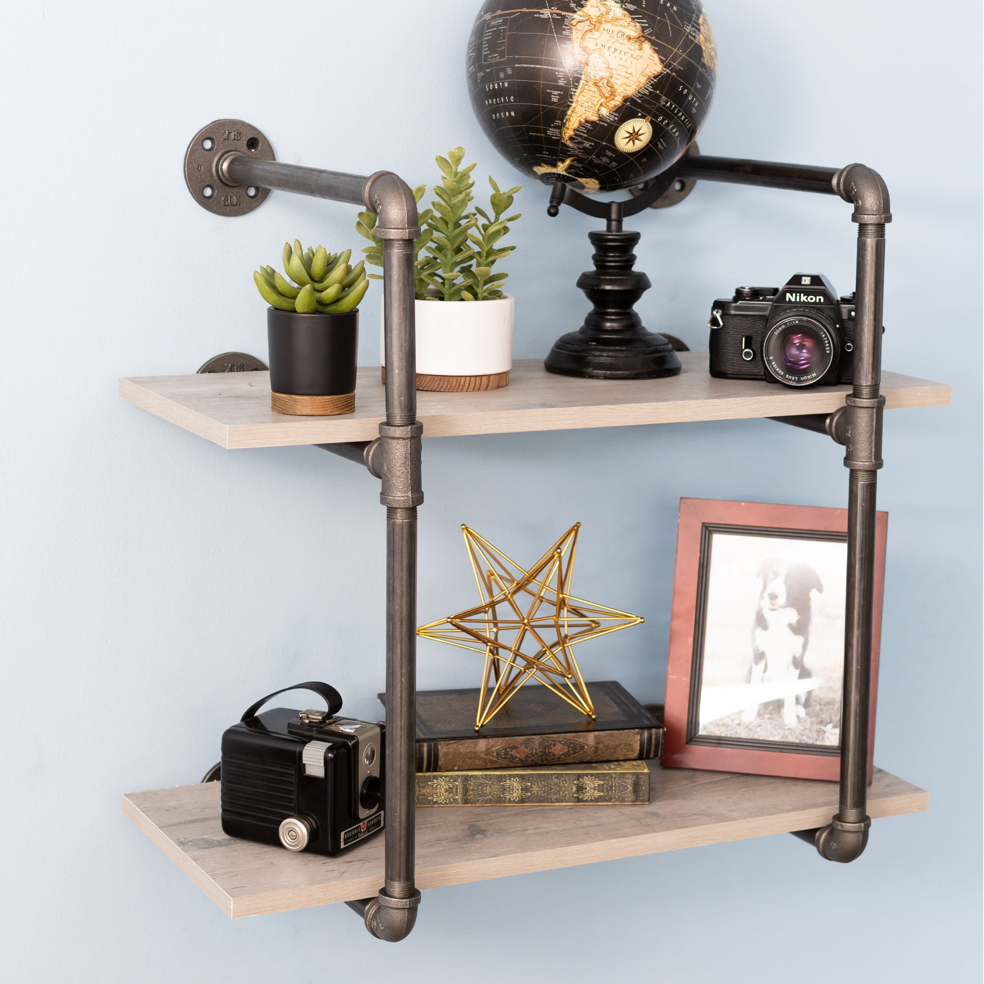 2 -tier Wall Mounted Shelf By PIPE DECOR - Pipe Decor