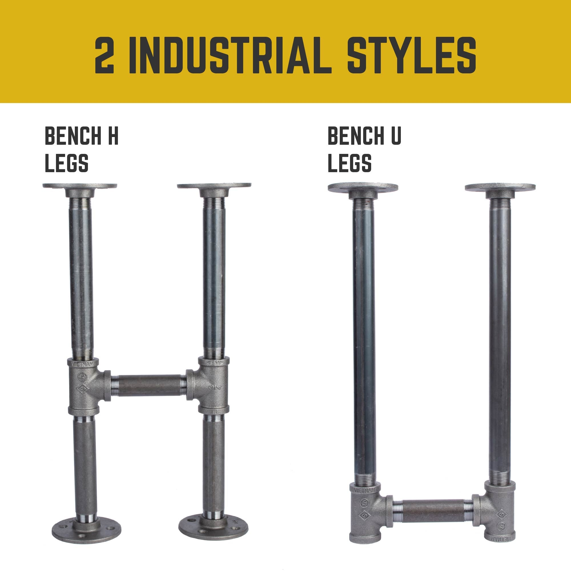 3/4 in. U Bench Leg Kit - Pipe Decor