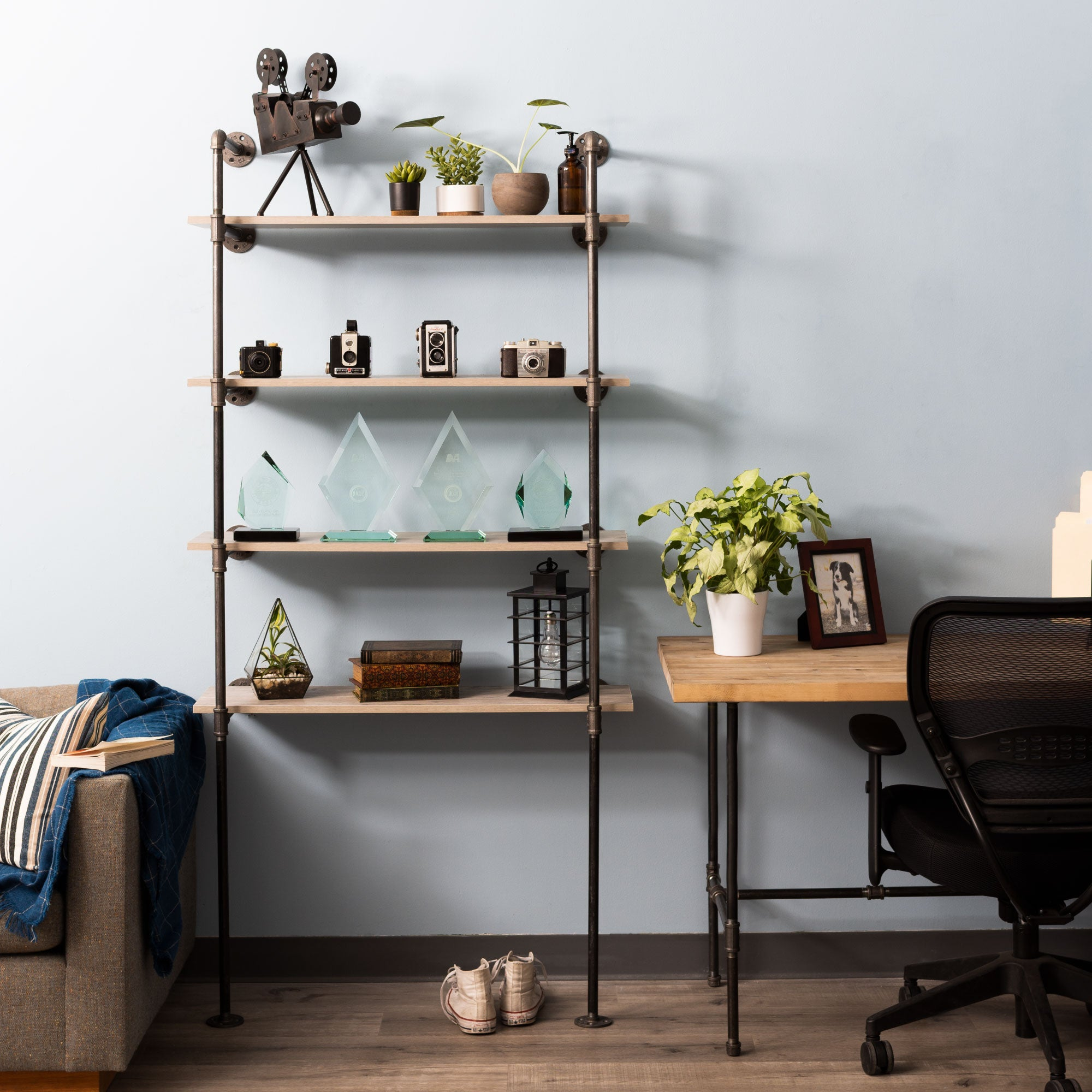 4 -tier Floor Mounted Shelf By PIPE DECOR