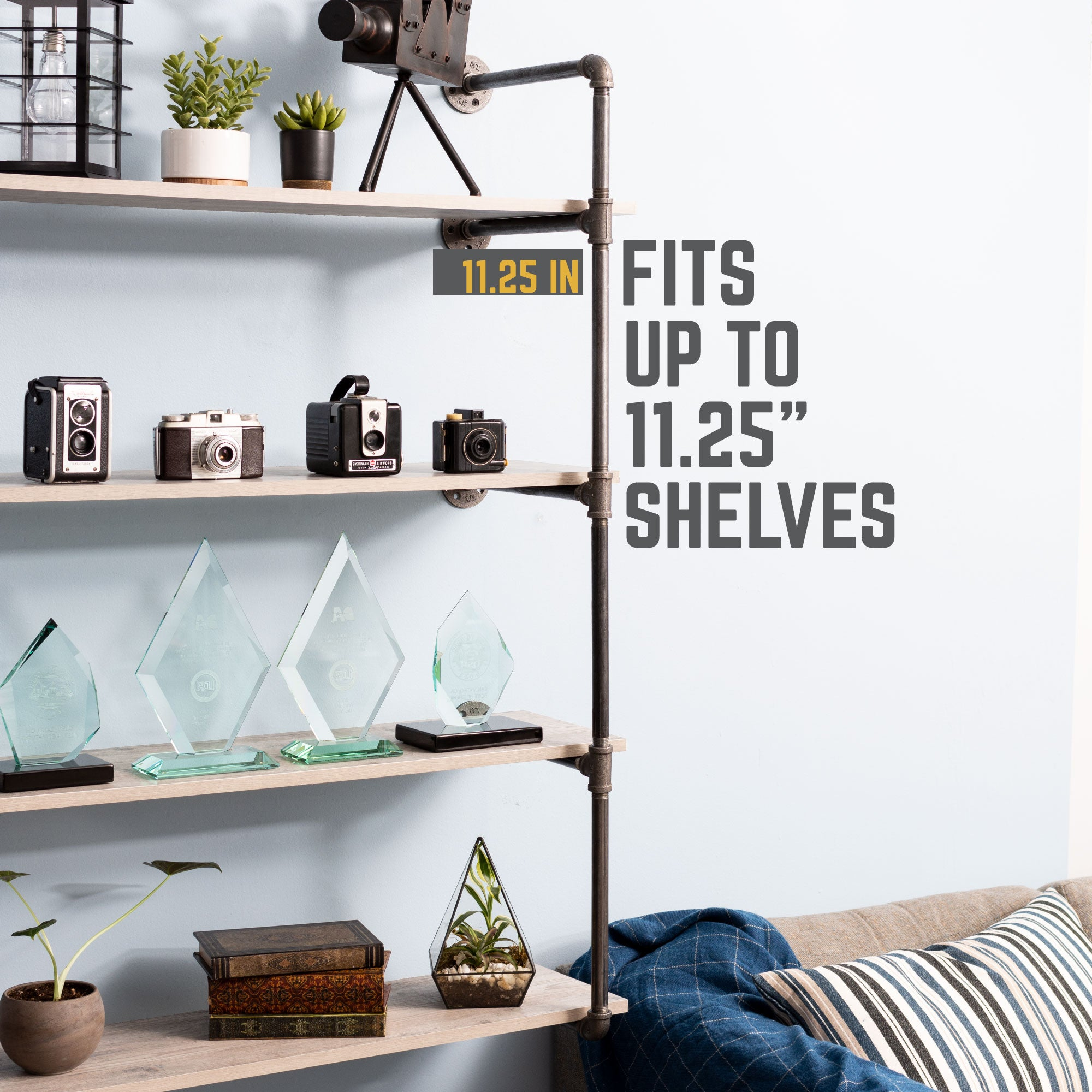 4 -tier Wall Mounted Shelf By PIPE DECOR