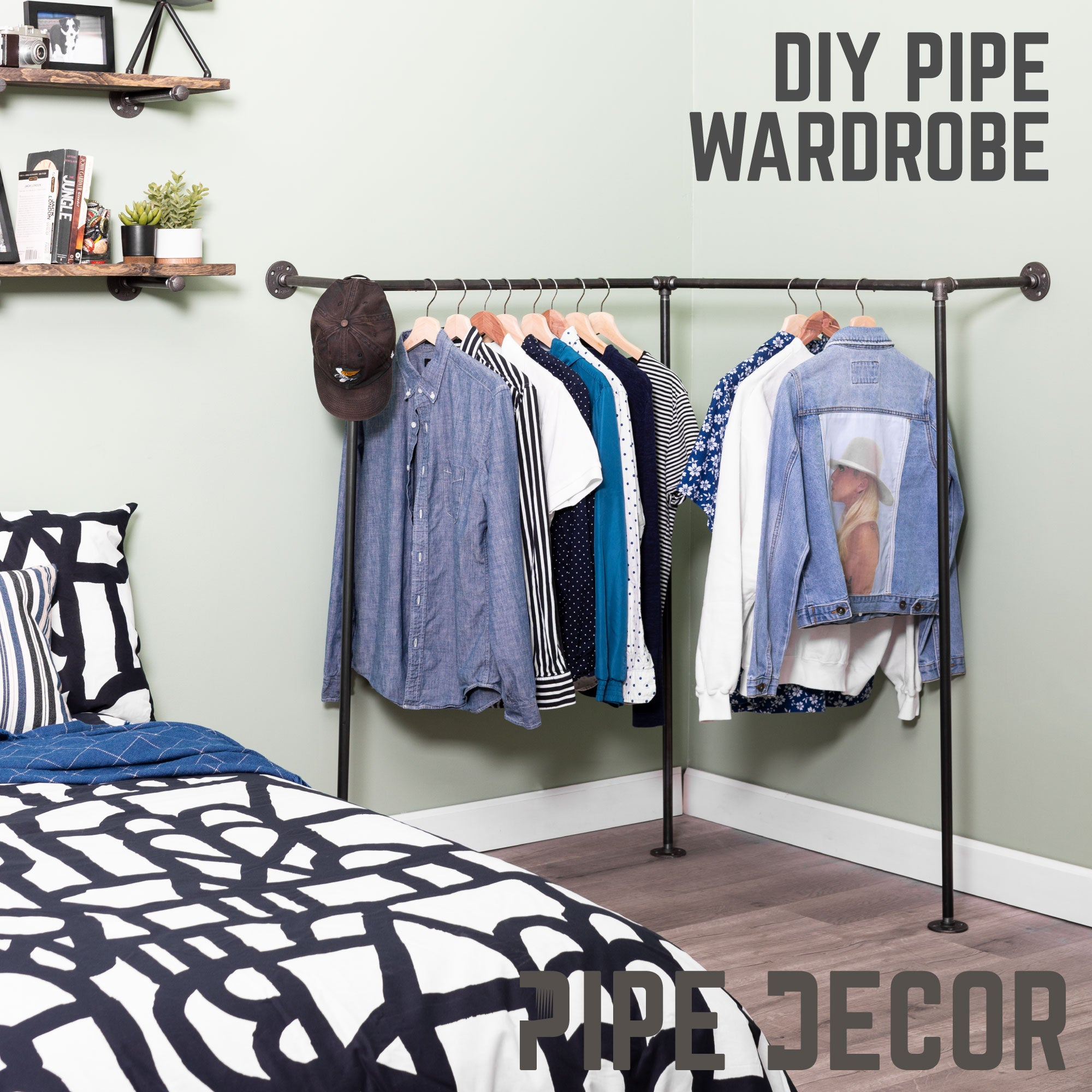 Wall And Floor Mounted Clothing Rack By PIPE DECOR - Pipe Decor