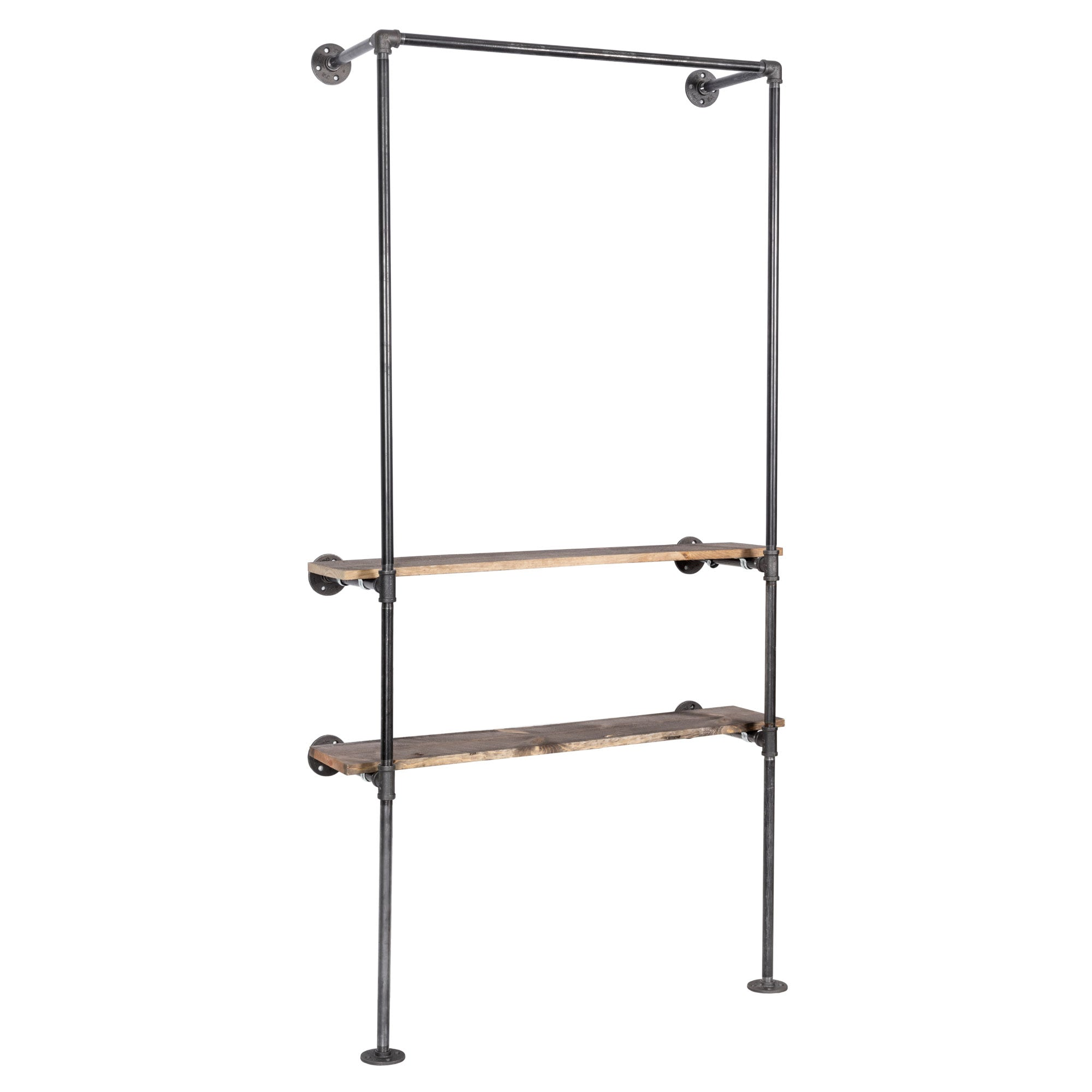2 Shelf-wall Mounted Clothing Rack By PIPE DECOR - Pipe Decor
