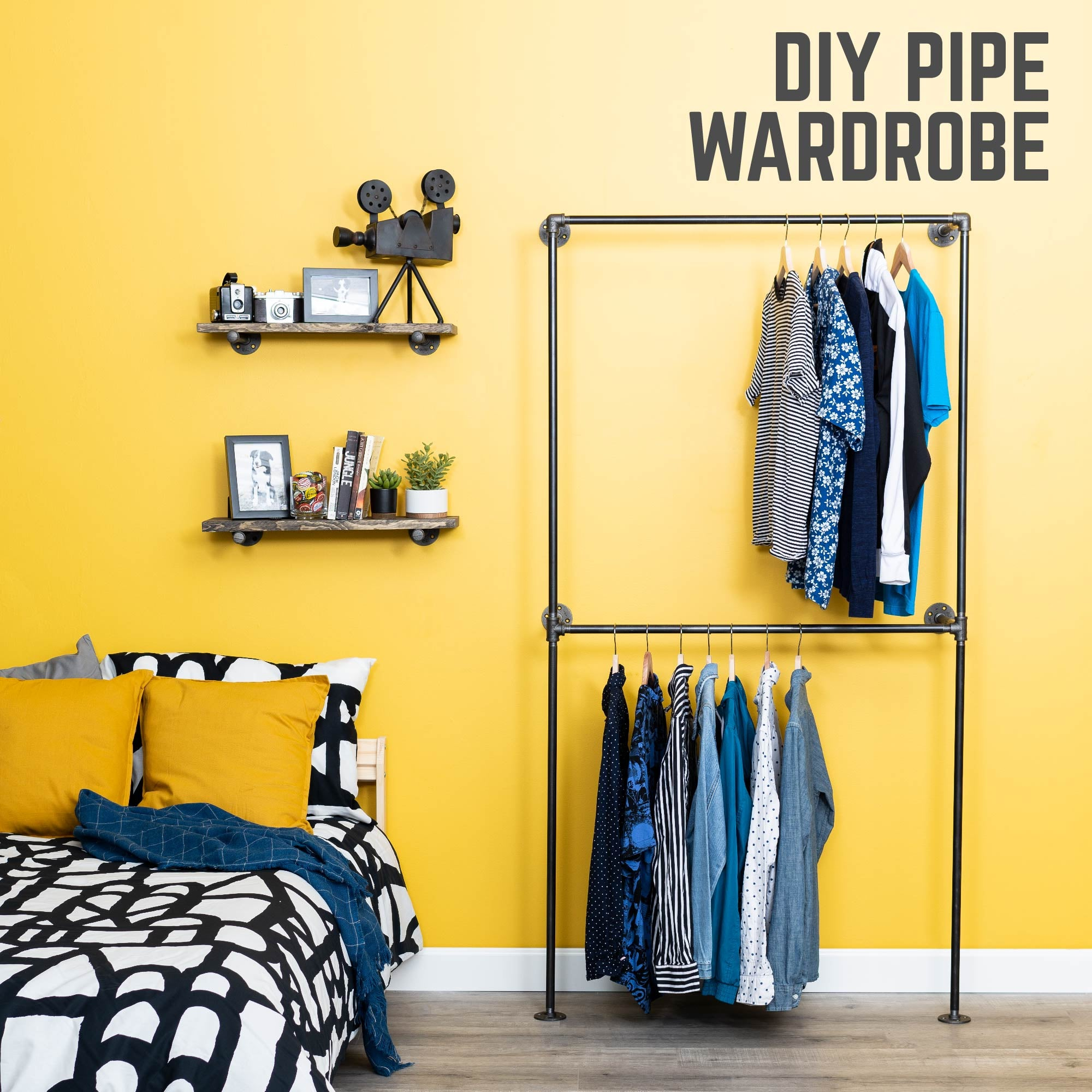 Wall Mounted Double Hung Clothing Rack By PIPE DECOR