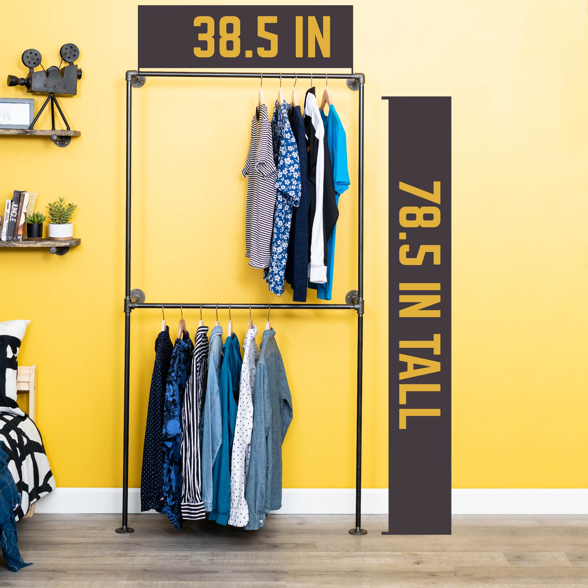 Wall Mounted Double Hung Clothing Rack By PIPE DECOR - Pipe Decor