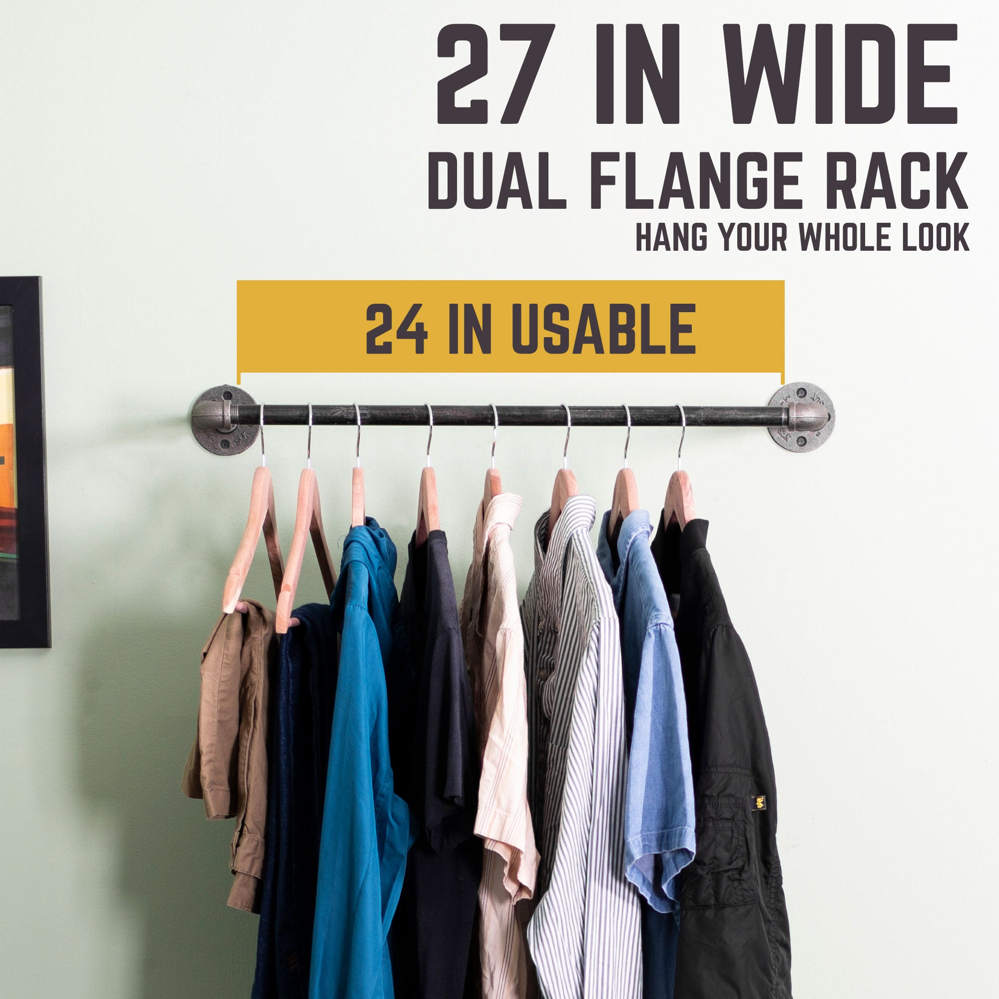 24 In Wall Mounted Clothing Rack By PIPE DECOR